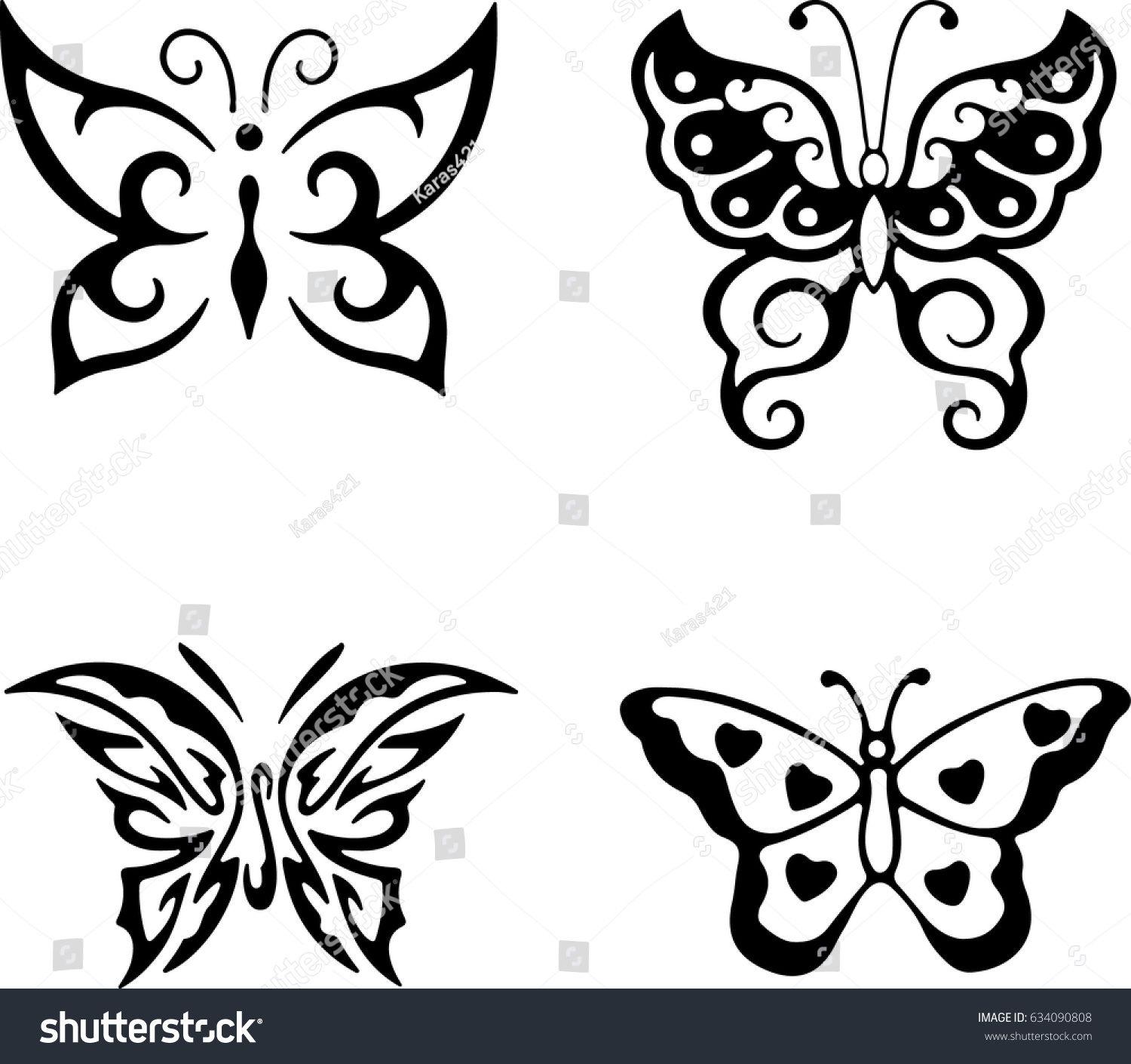 set butterflies silhouettes butterfly icons isolated stock vector