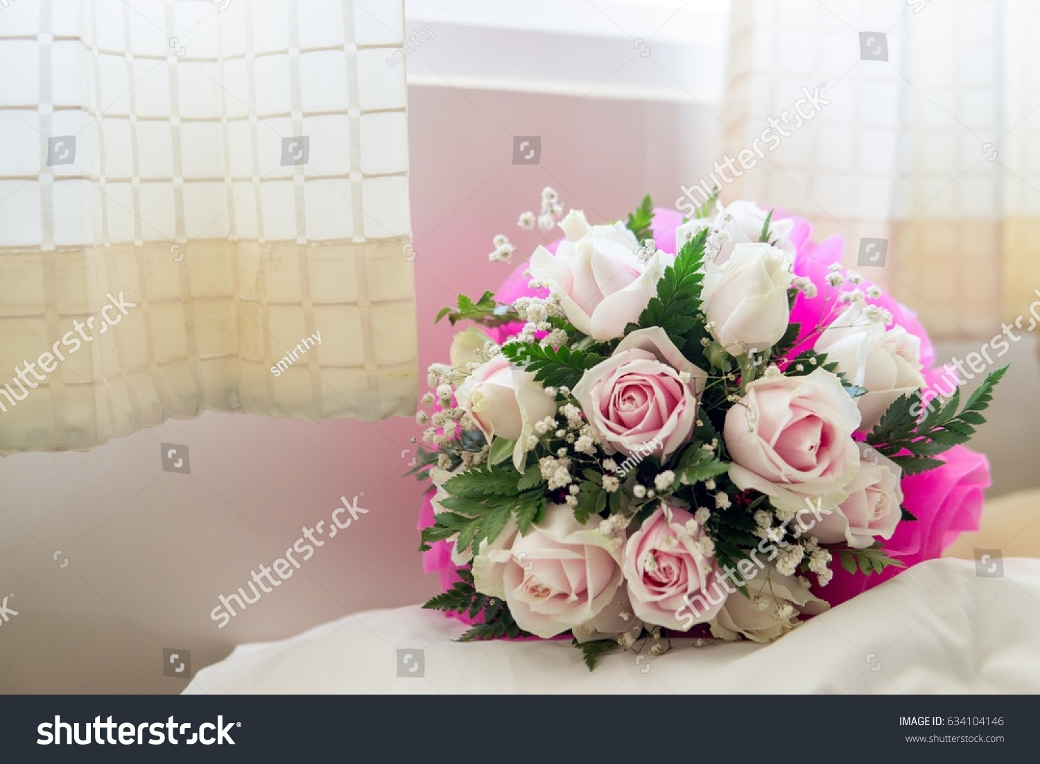 Beautiful shiny white pink roses flowers stock photo edit now beautiful shiny white and pink roses flowers next to the window as a gift in valentine izmirmasajfo