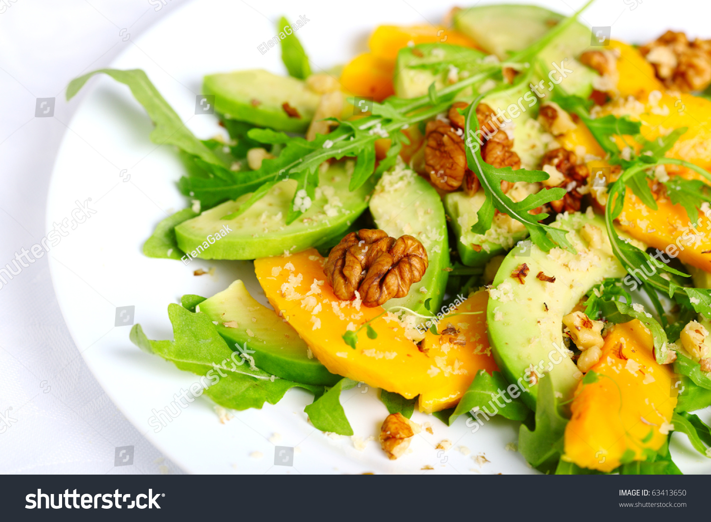 Salad With Mango, Avocado, Arugula And Walnuts Stock Photo 63413650 ...