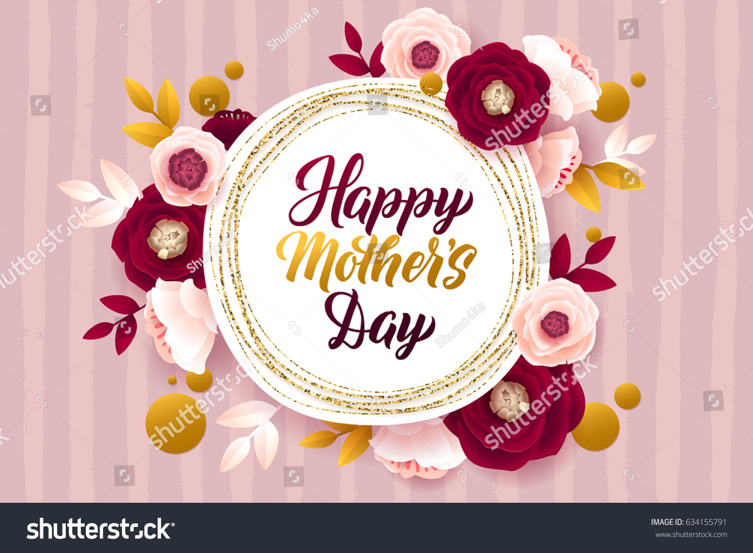 Happy Mothers Day Greeting Card Gold Stock Vector Royalty Free