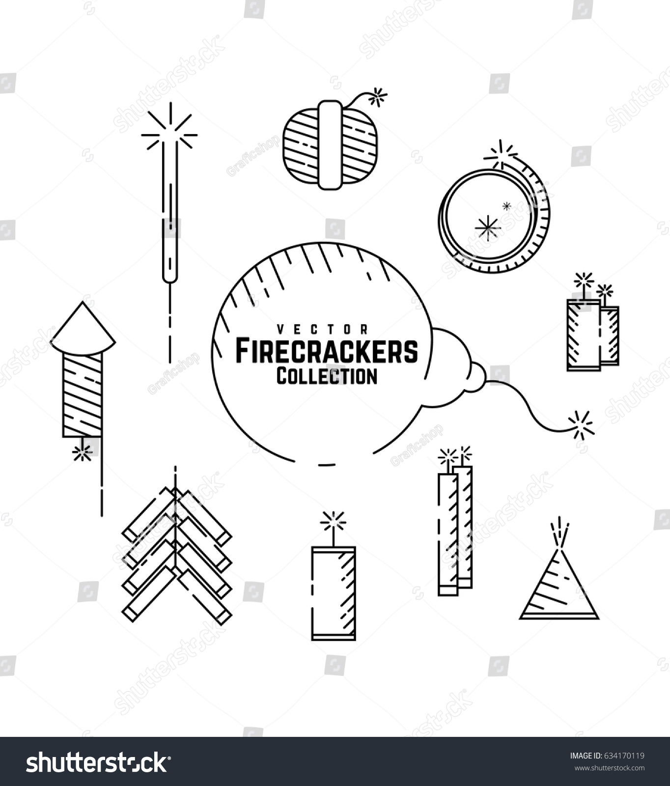 vector firecrackers collection set fireworks icon diwali crackers