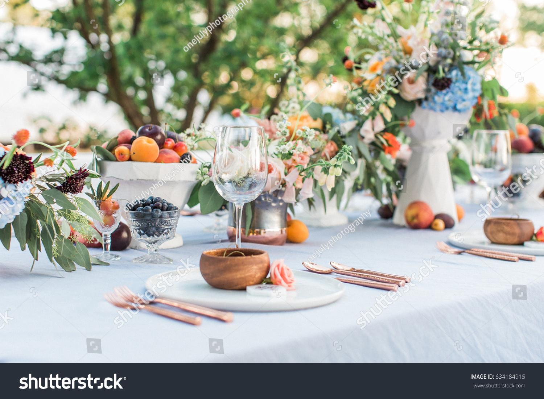 Outdoor Summer Wedding Centerpieces Fruit Vineyard Stock Photo Edit