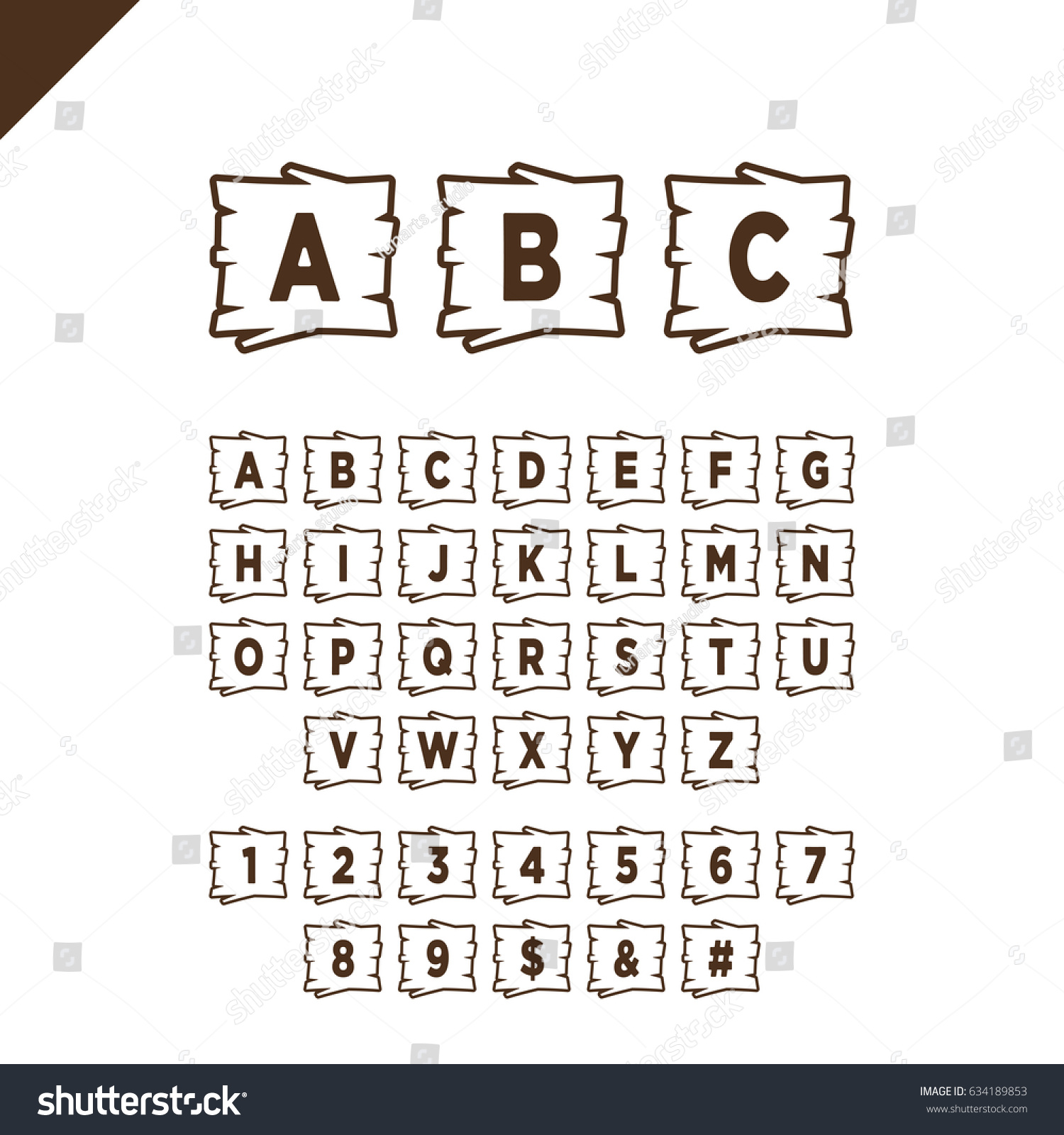 Wooden Alphabet Blocks Letters Numbers Wood Stock Vector Royalty