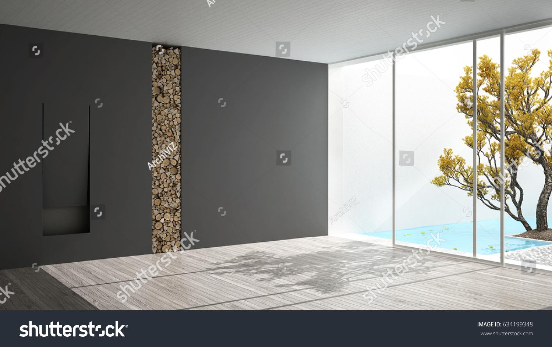 empty room fireplace big panoramic window stock illustration