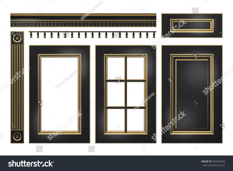 Black Gold Door Drawer Column Cornice Stock Illustration 634203659 ...