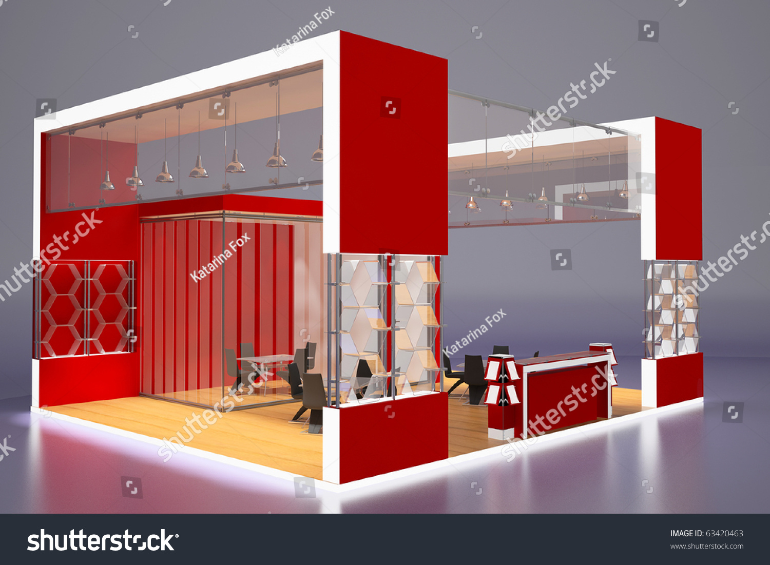 Modern Exhibition Stand Goal : D render of modern red exhibition stand perspective