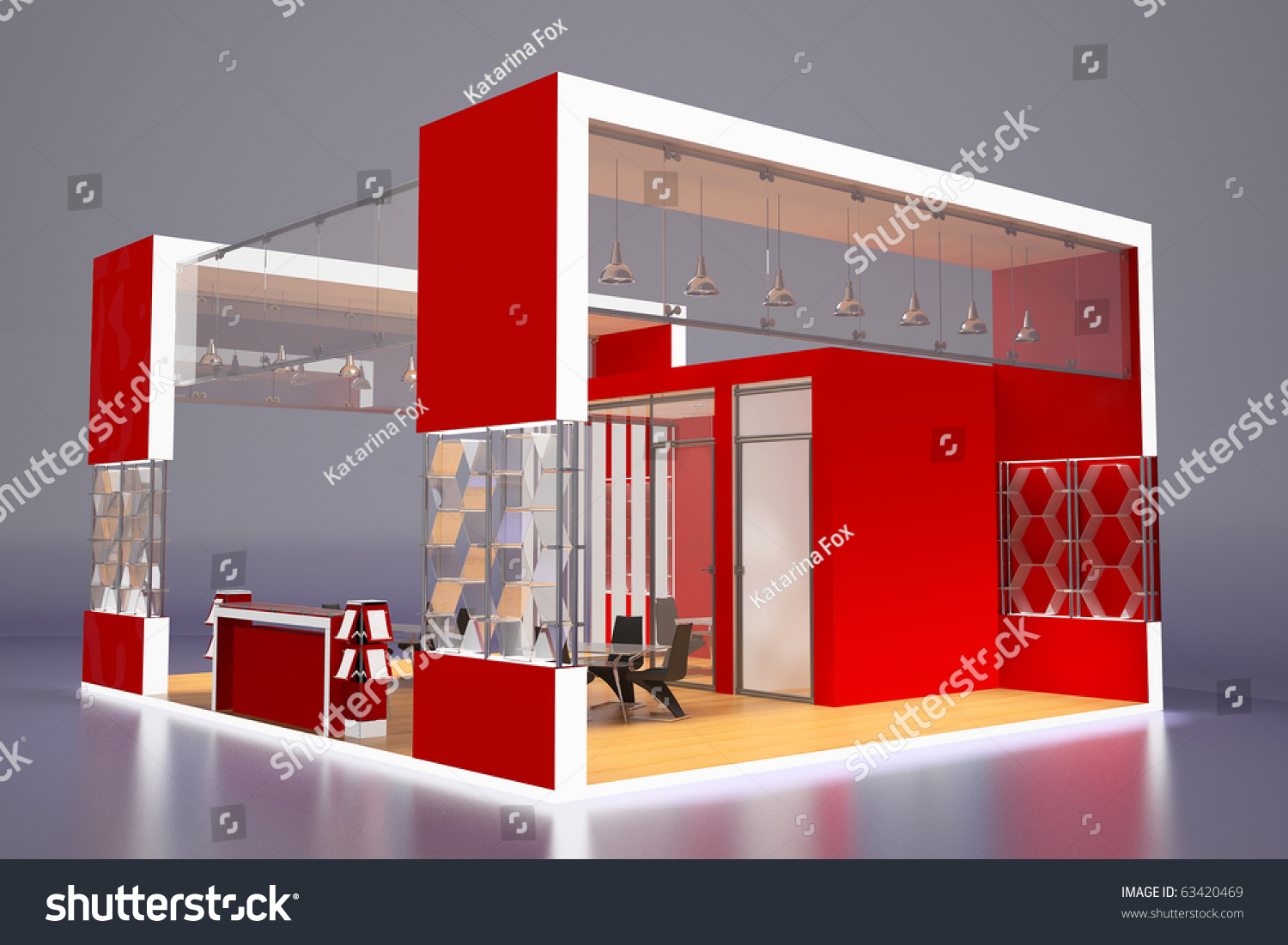 Modern Exhibition Stand : D render modern red exhibition stand stock illustration