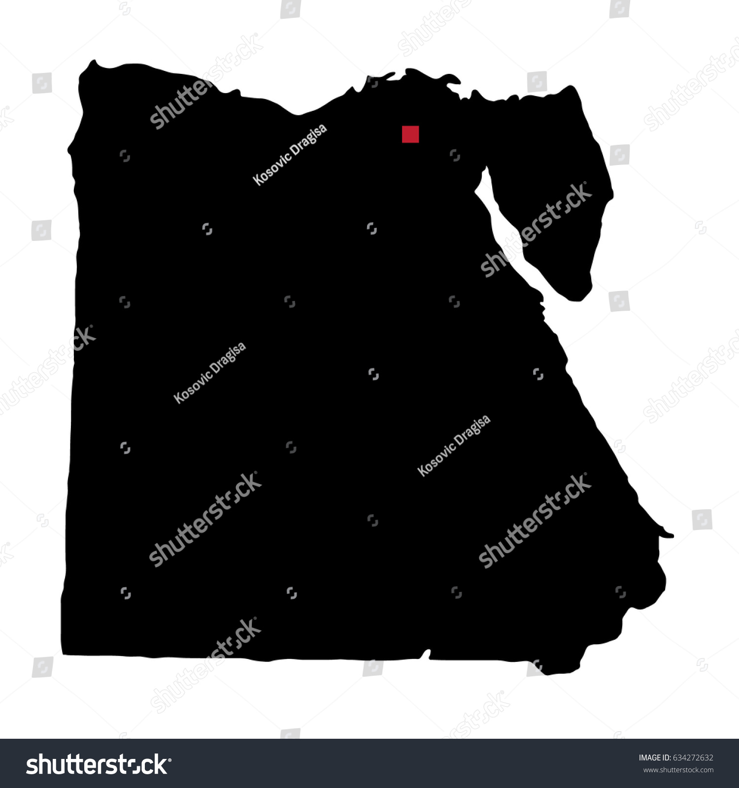 Map Silhouette Egypt Capital City Stock Vector (Royalty Free ... on