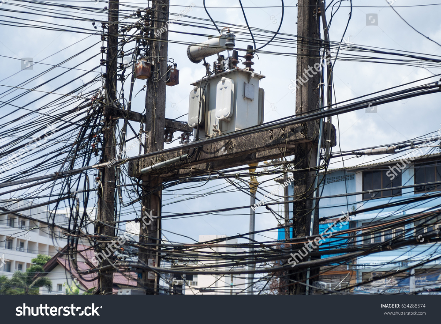 Thailand Very Messy Wires Dangerous Electrical Stock Photo Edit Now Wiring Pictures With Transformer And Power Lines On Electric Pole