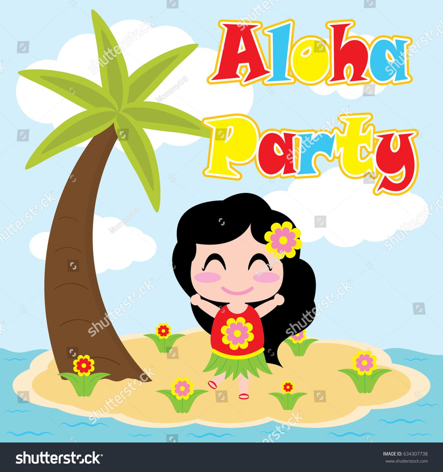 Kawaii Island Go Vacation: Cute Girl Dancing On Small Island Stock Vector 634307738
