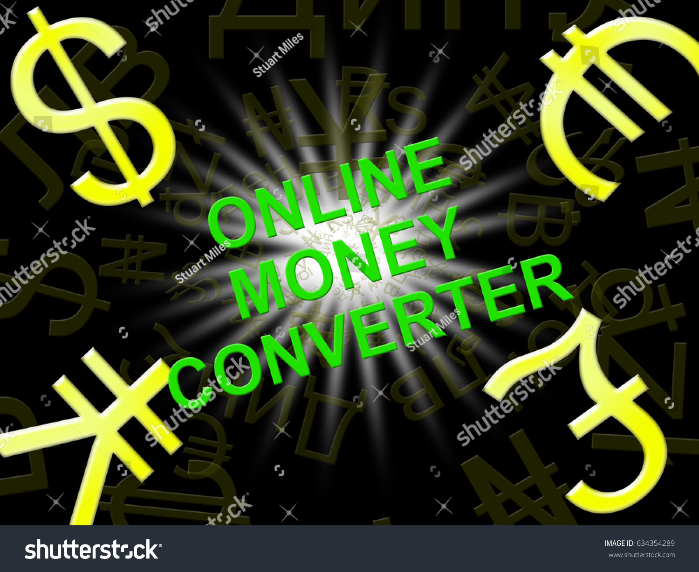 Online Money Converter Symbols Means Converting Stock Illustration