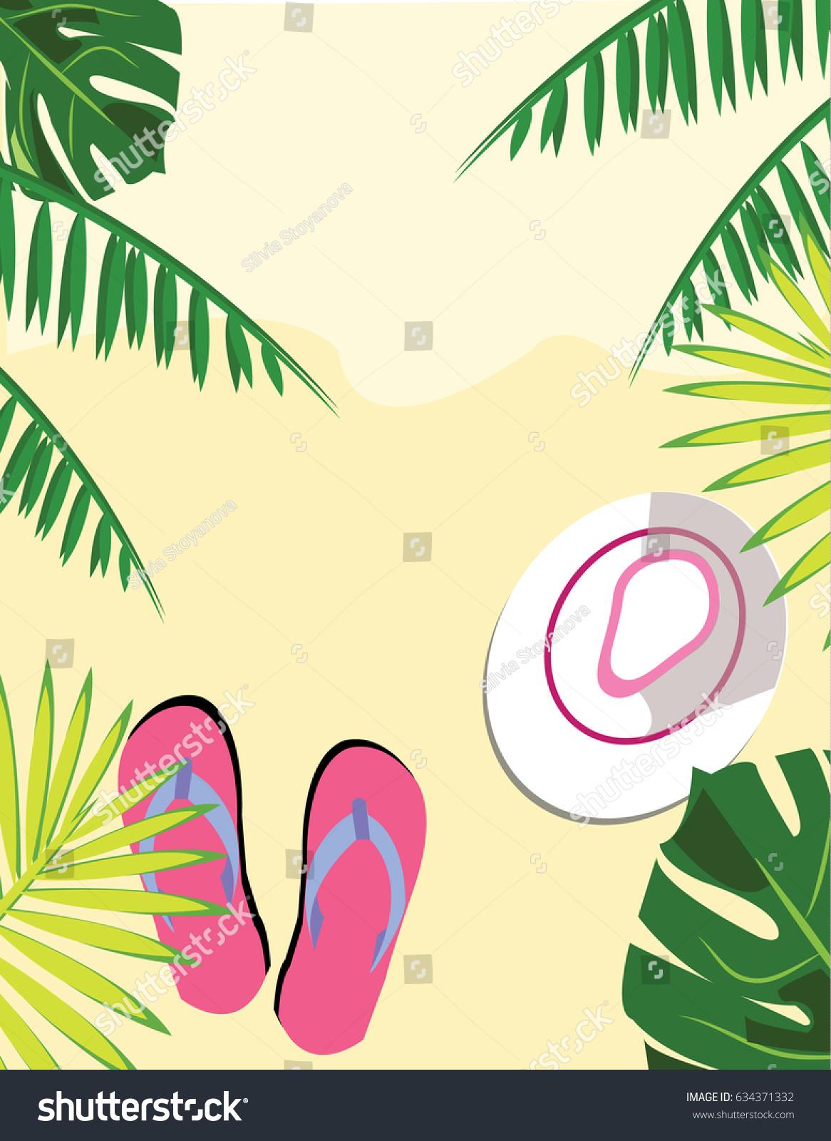 Summer Beach Scene Tropical Leaves Stock Vector 634371332 - Shutterstock