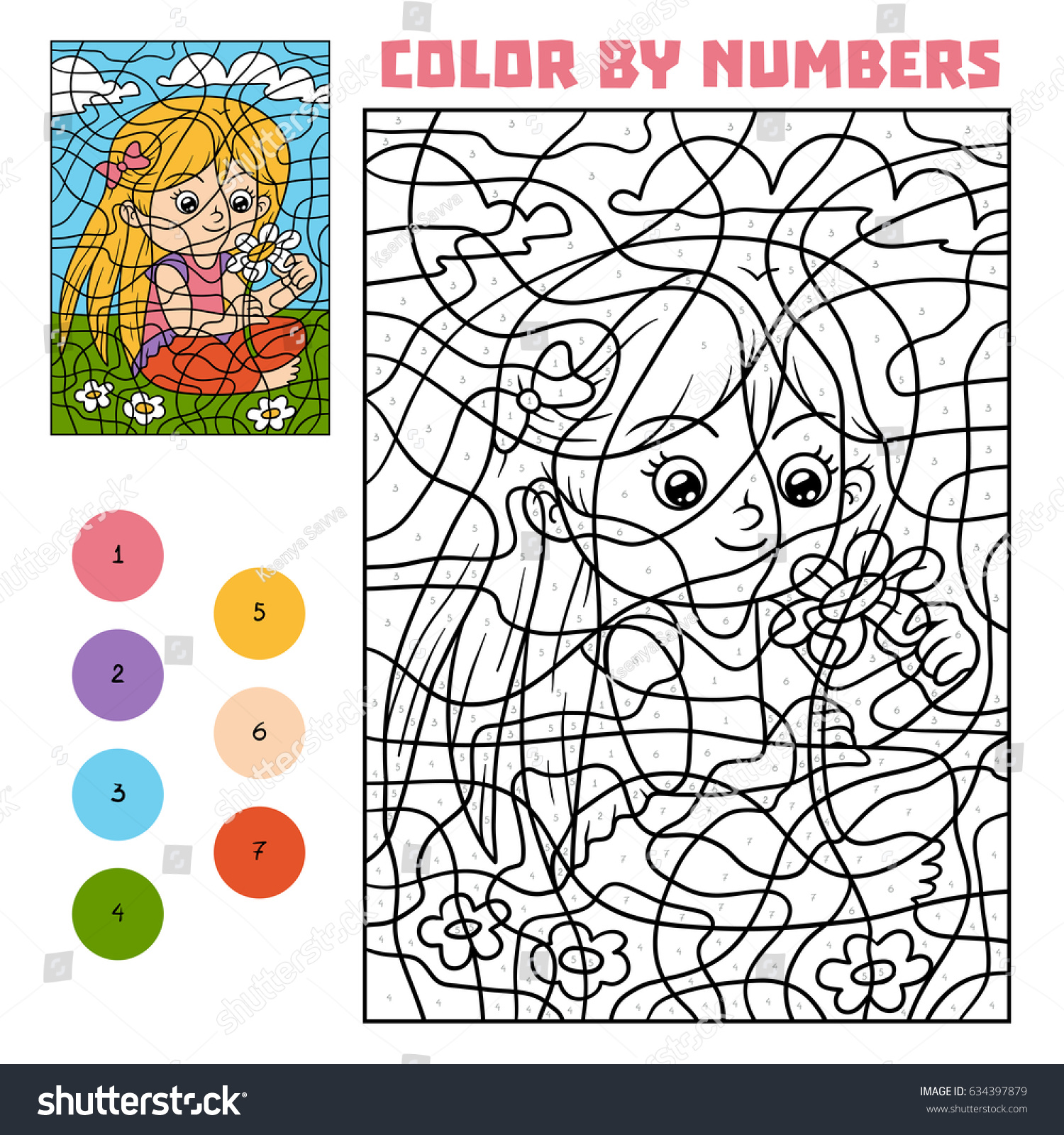 color by number education game children stock vector 634397879