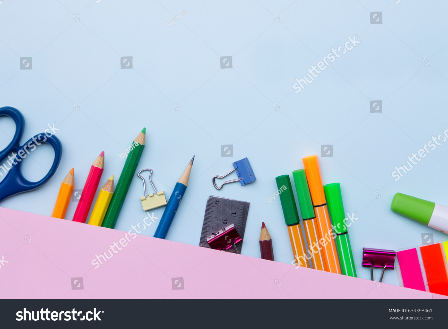 School Stationary On Pink Blue Background Stock Photo Edit Now 634398461