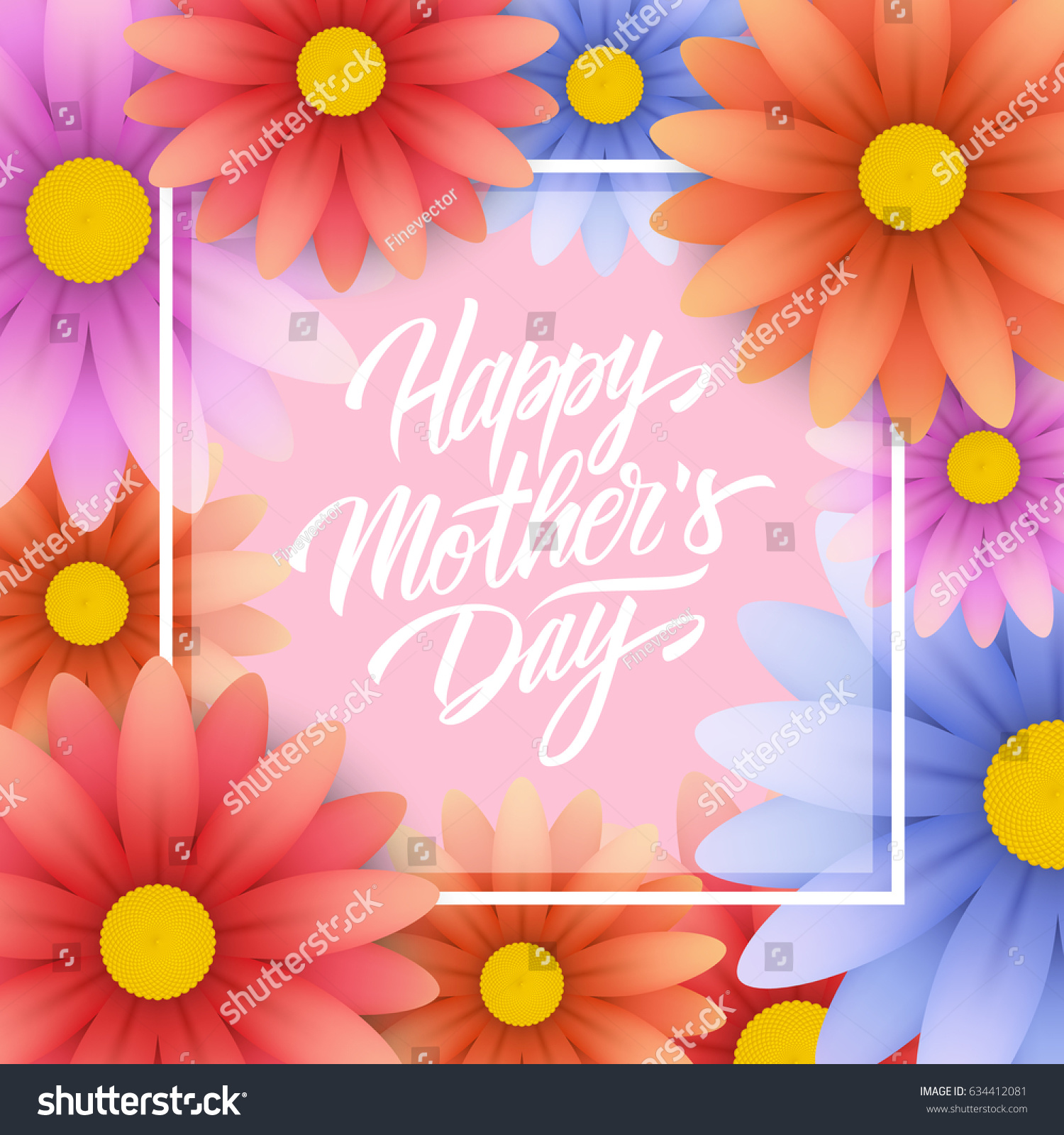 Happy Mothers Day Greeting Card Hand Stock Vector 634412081