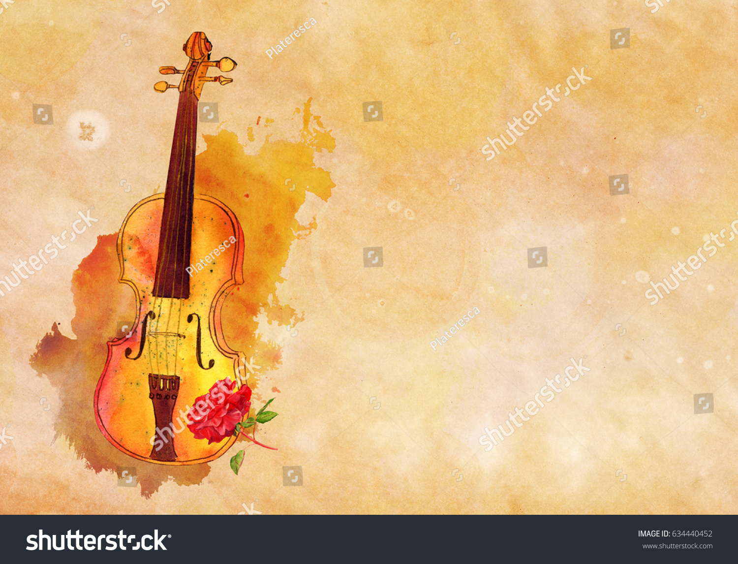 Watercolour Ink Drawing Violin Red Rose Stock Illustration 634440452 ...