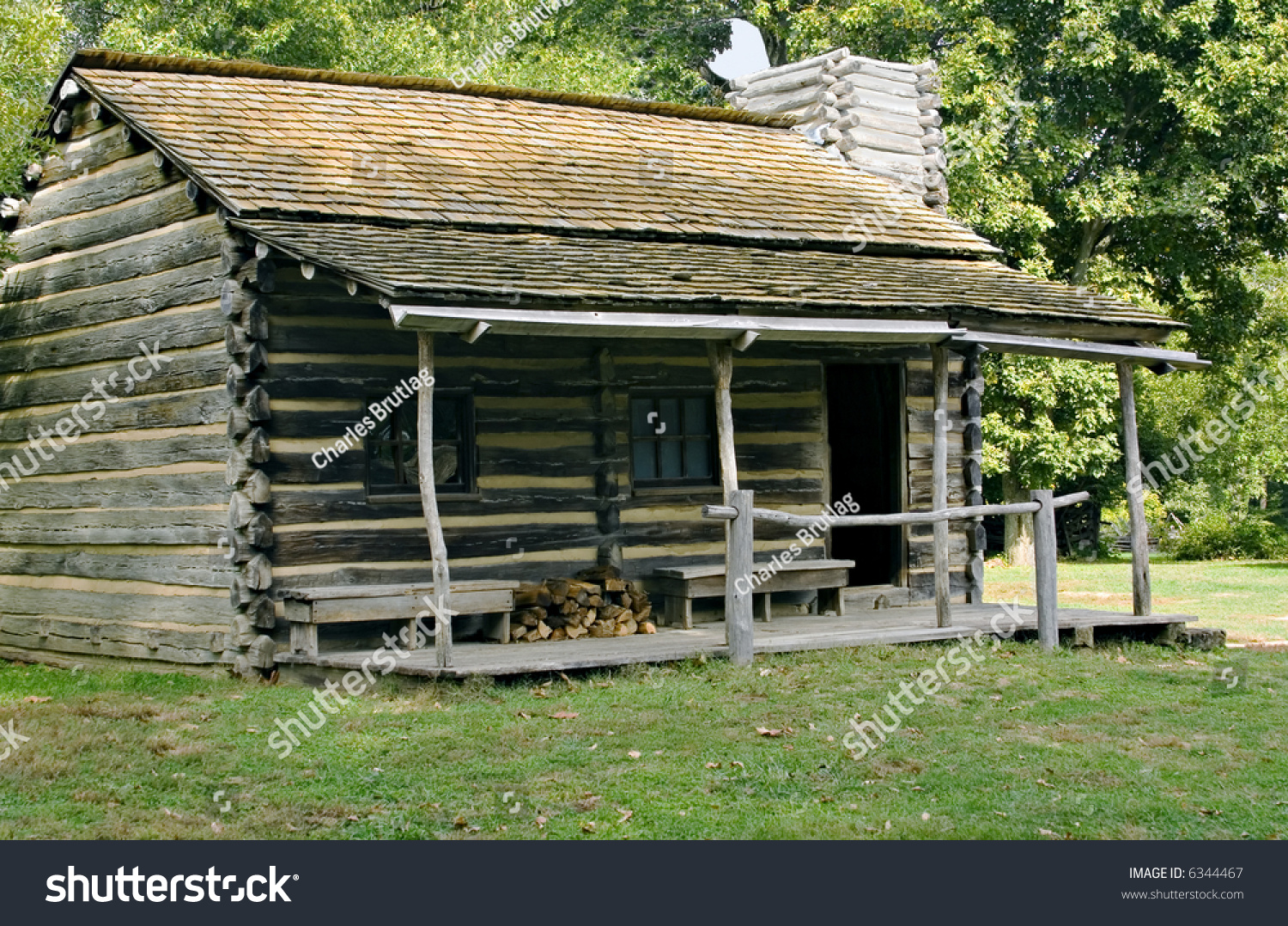 Log Cabin In New Salem Illinois State Historic Site Stock