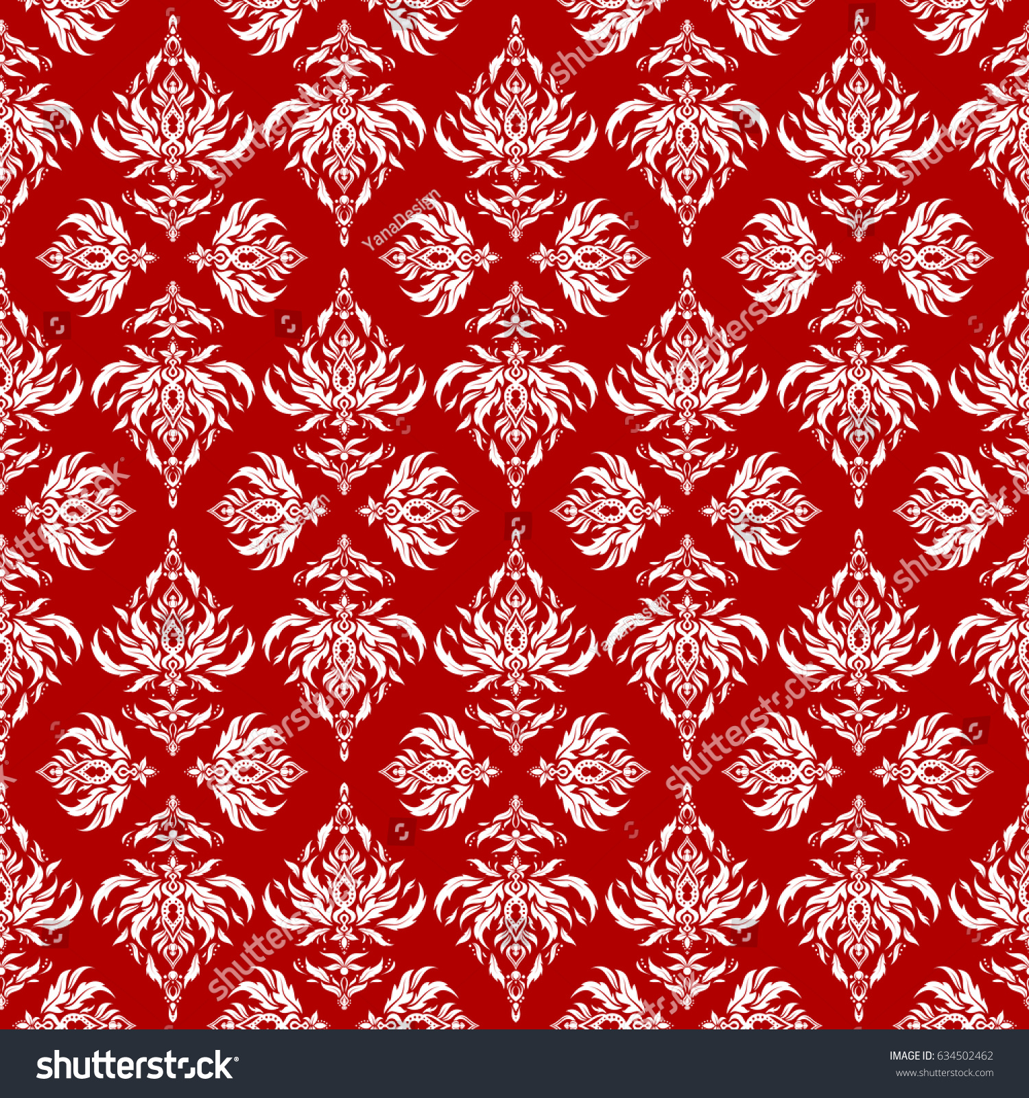 Traditional Vector Gothic Damask Background Red Stock Vector ...