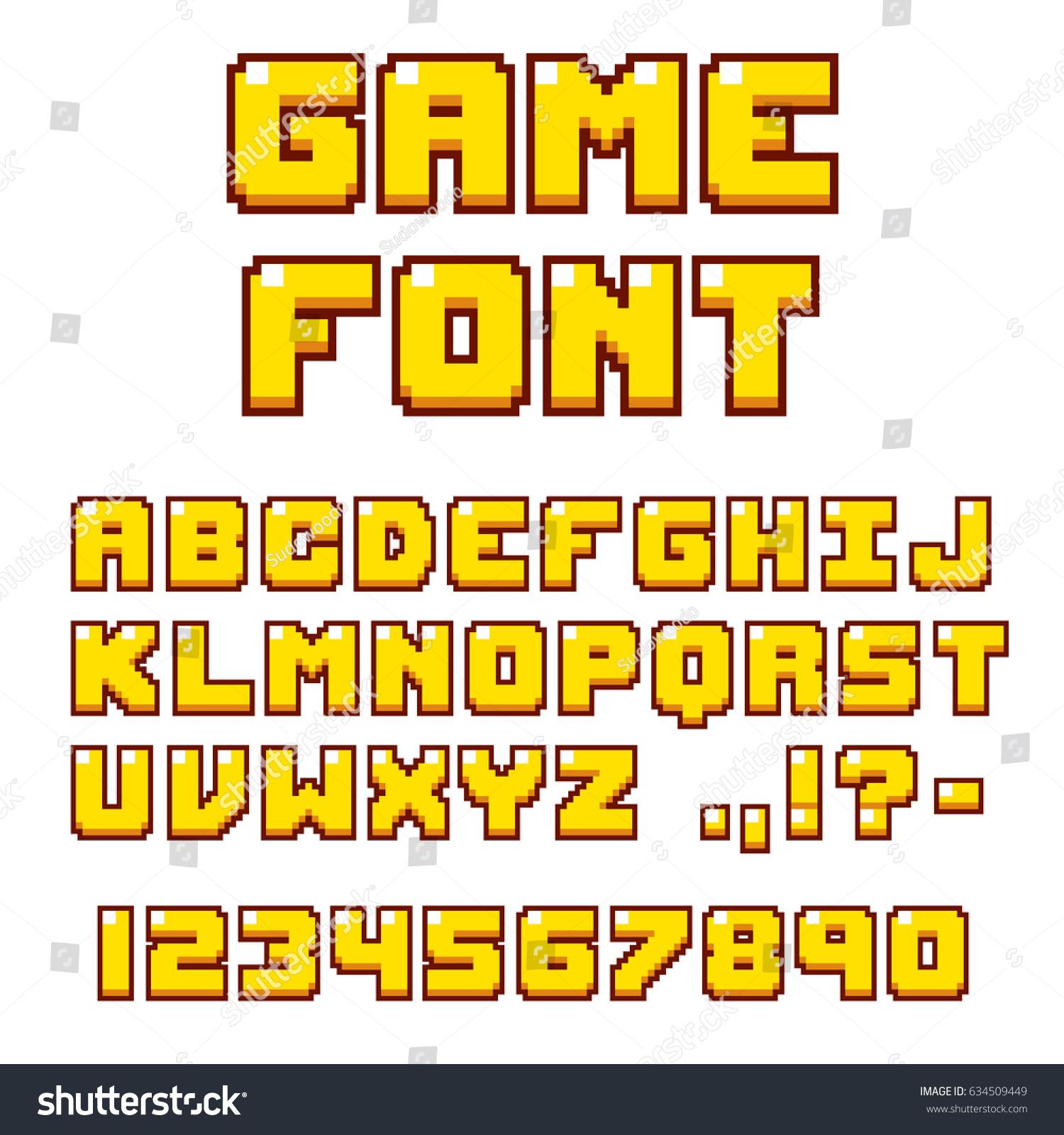 Pixel Video Game Font 8bit Symbols Stock Illustration