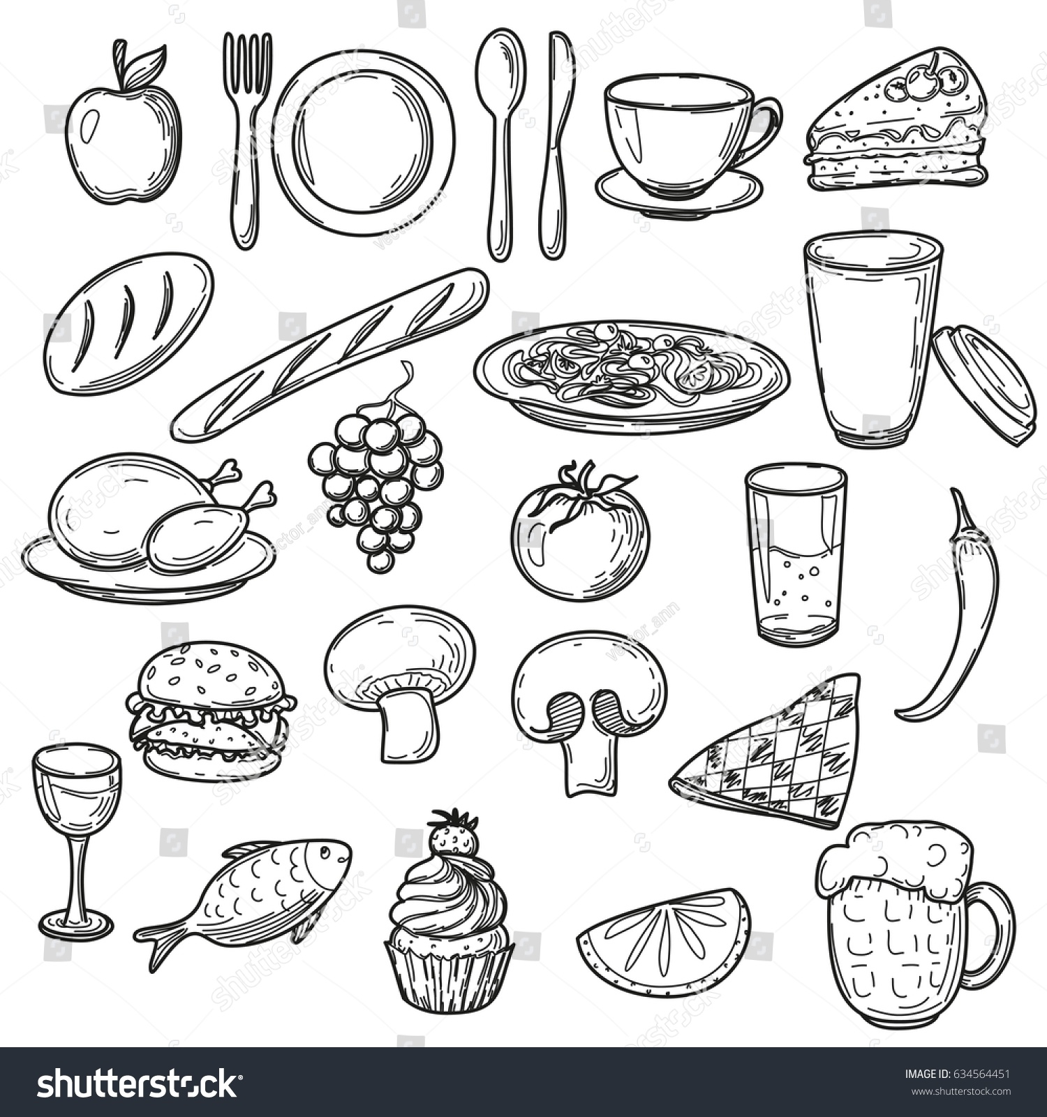 Hand Drawn Food Doodles Line Art Stock Vector Royalty Free