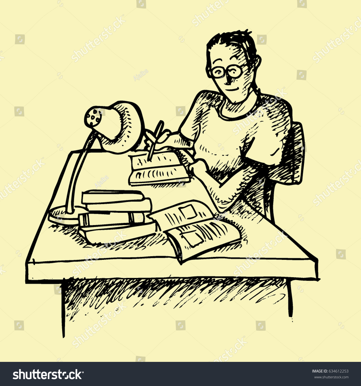 the man writing and reading on the desk hand drawing illustration