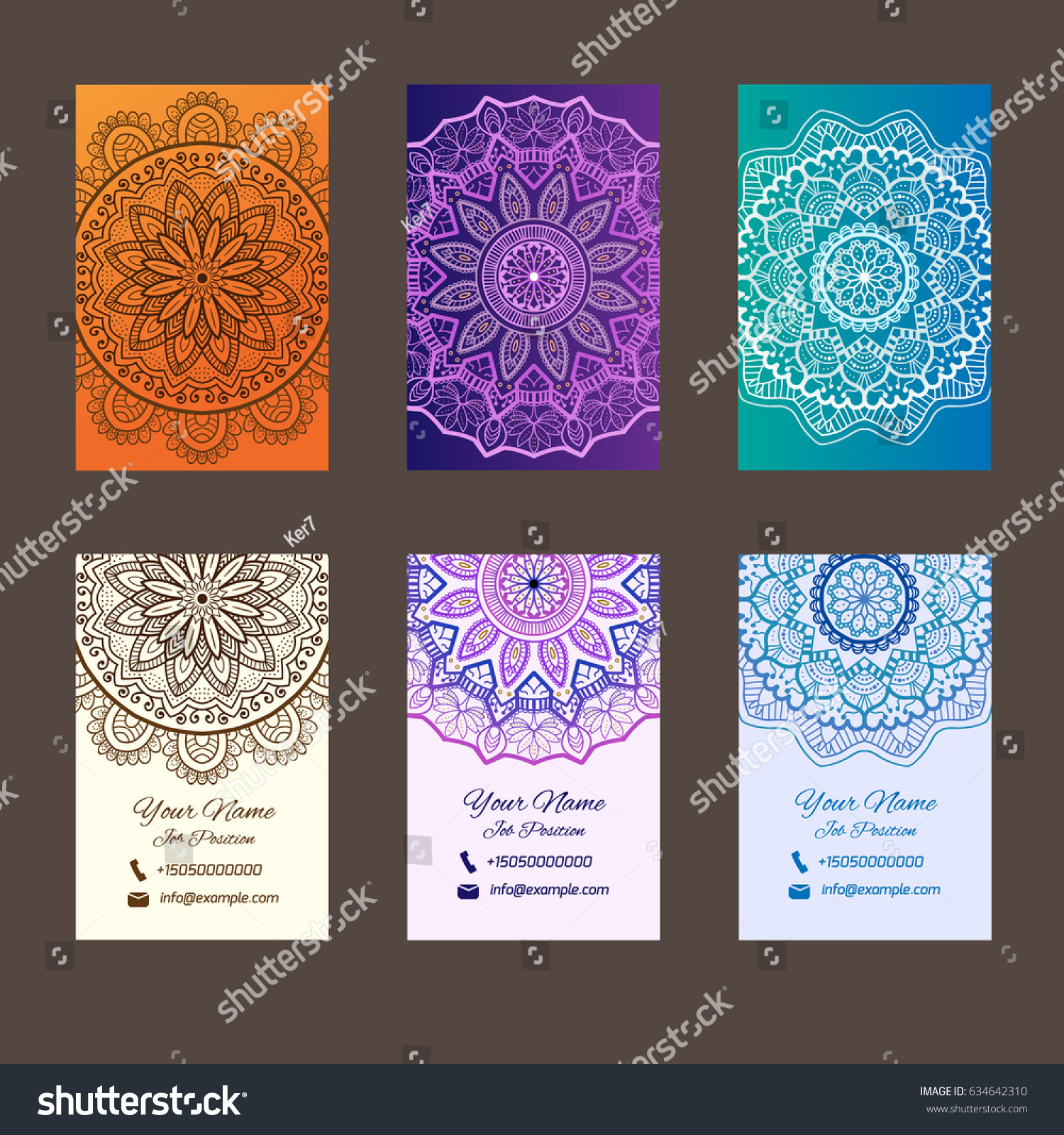 Business Cards Mandala Very Nice Shapes Stock Vector 634642310 ...