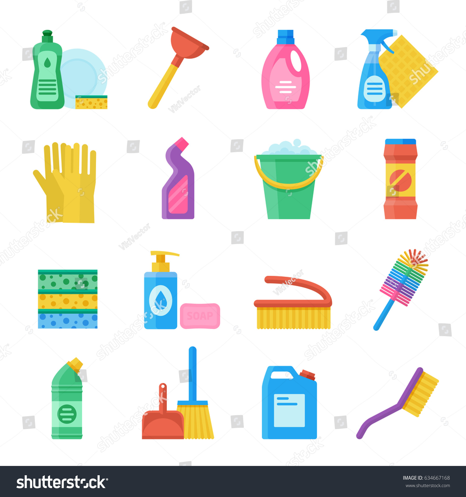 Household Tools Cleaning Washing Icon Set Stock Vector (Royalty Free ...