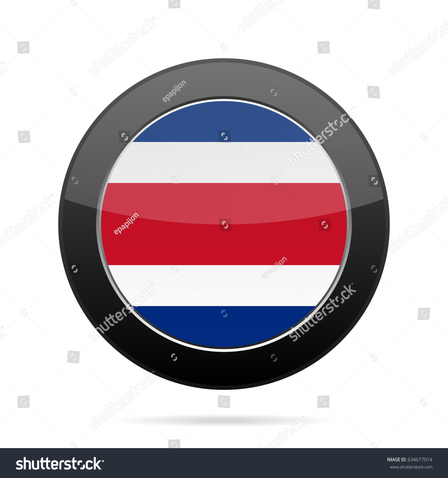 National flag costa rica shiny black stock vector 634677014 national flag of costa rica shiny black round button with shadow biocorpaavc Gallery