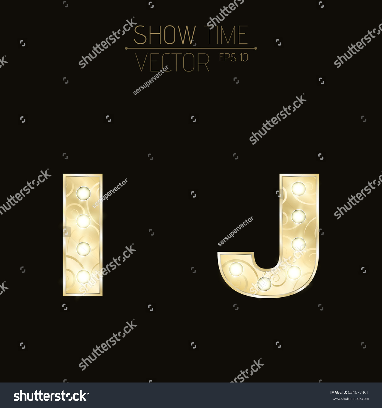 Gold Lit Letters Gold Letters J Sparkling Light Bulbs Stock Vector 634677461