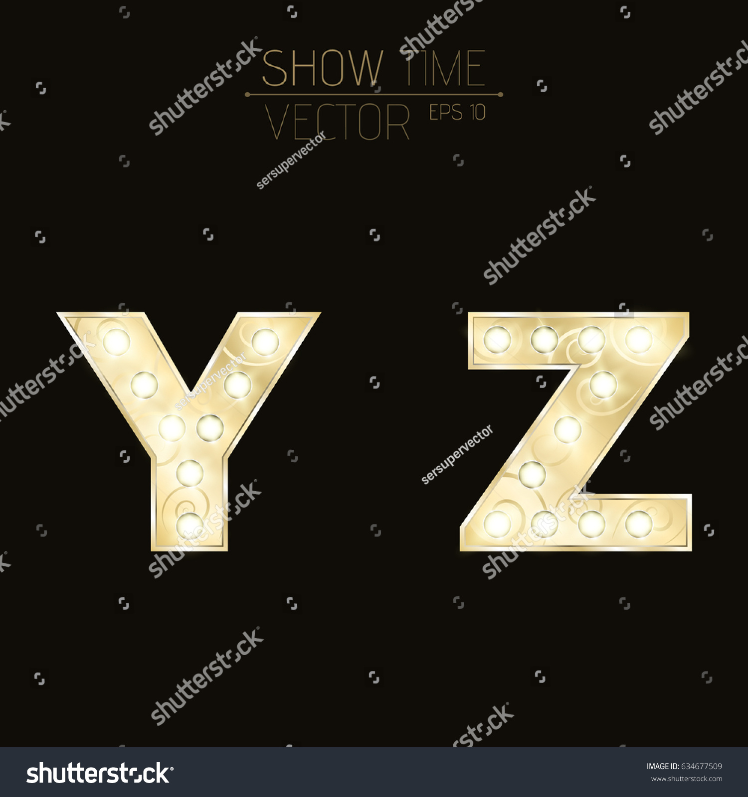 Gold Lit Letters Gold Letters Y Z Sparkling Light Stock Vector 634677509  Shutterstock