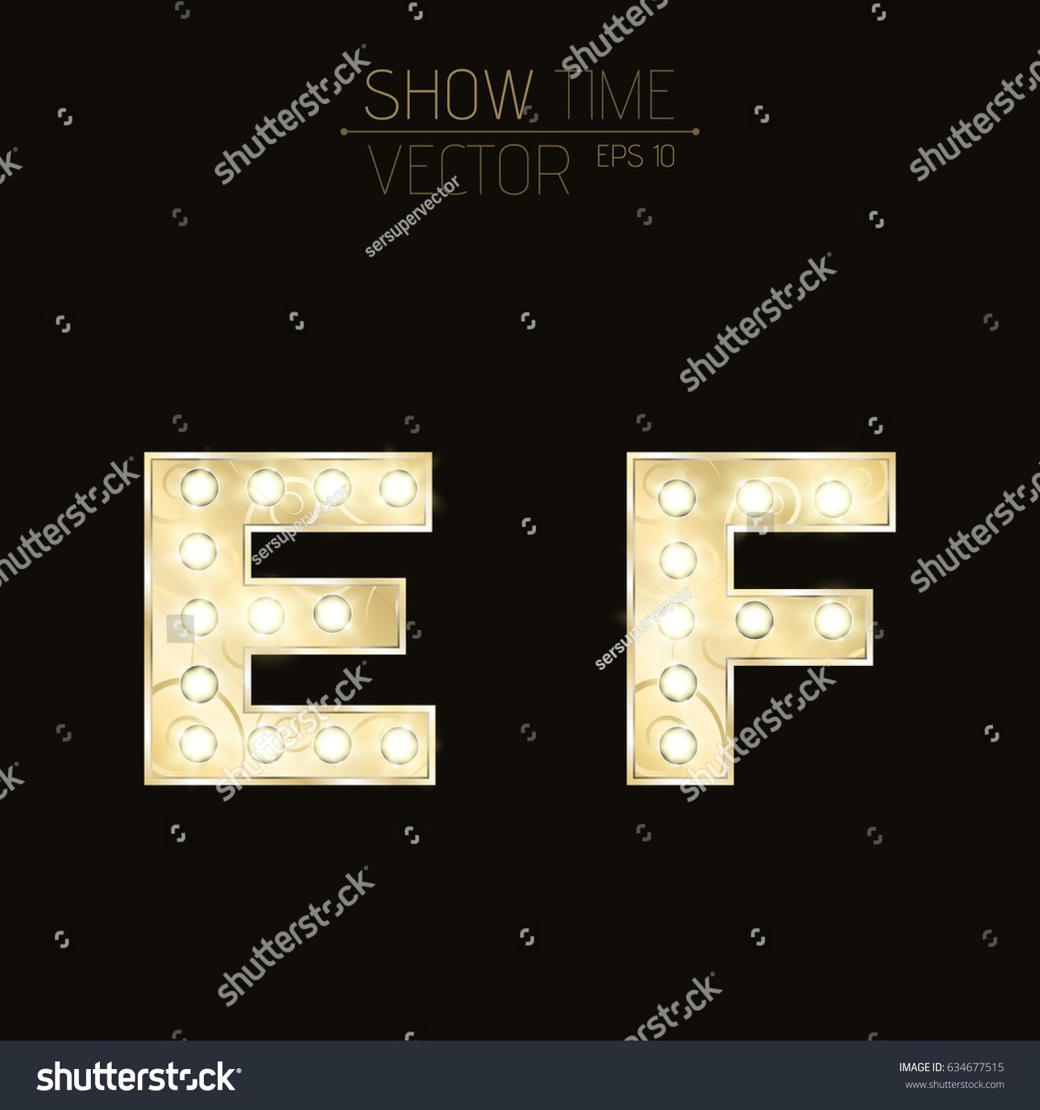 Gold Lit Letters Gold Letters E F Sparkling Light Stock Vector 634677515  Shutterstock
