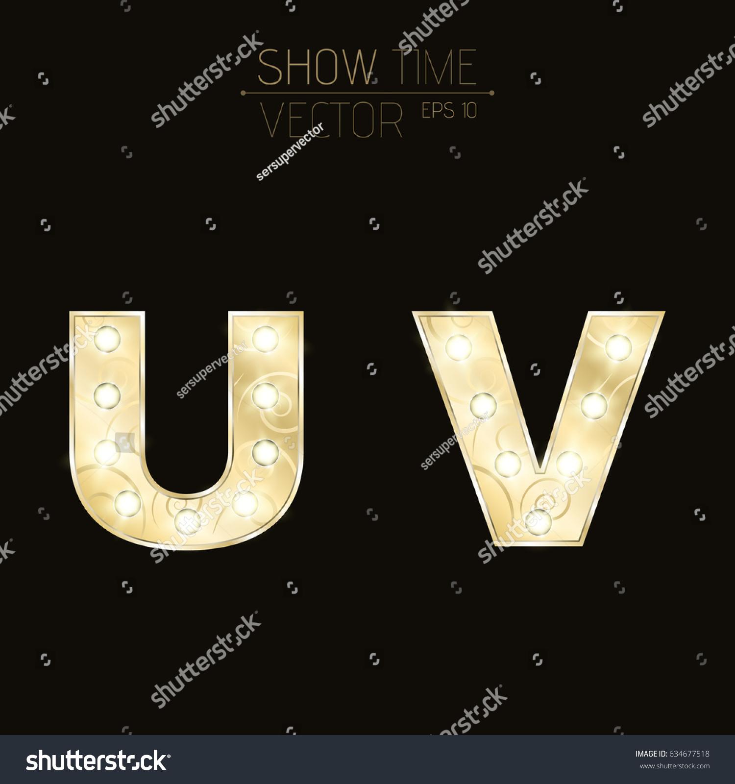 Gold Lit Letters Gold Letters U V Sparkling Light Stock Vector 634677518  Shutterstock