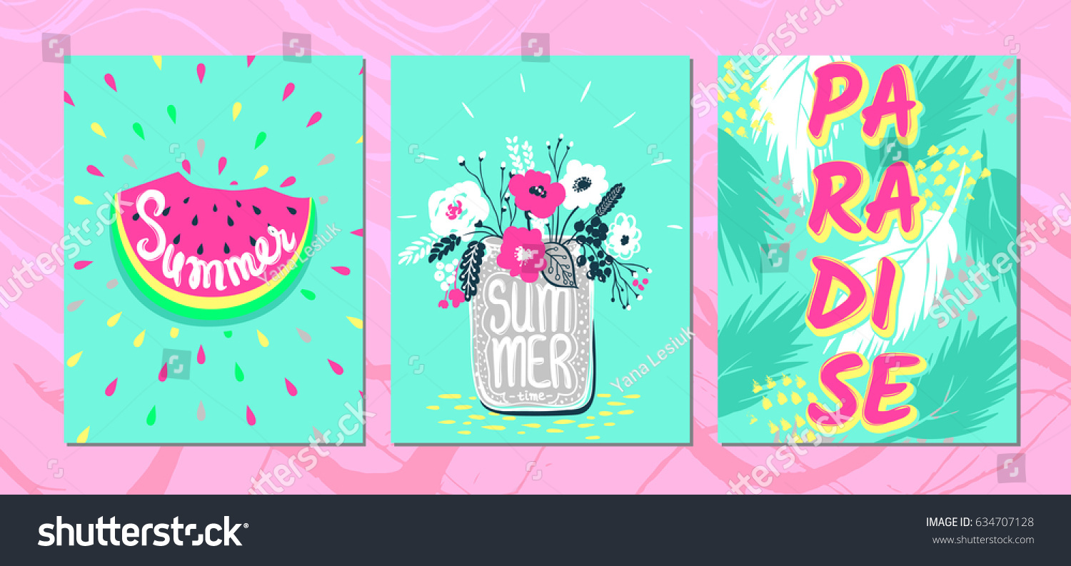 Set summer vector cardstrendy design vector stock vector 634707128 set summer vector cardsendy design vector collection colorful bright acid colors kristyandbryce Image collections