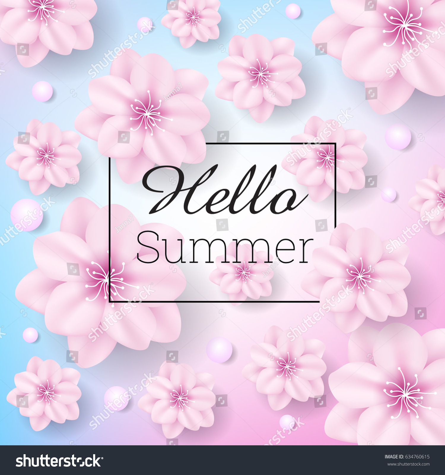 Attrayant Hello Summer Background With Pink Flowers