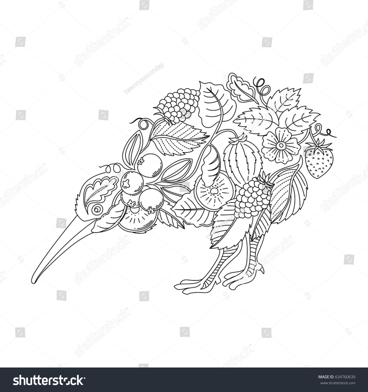 Adult Coloring Kiwi Bird Stock Vector Royalty Free 634760639