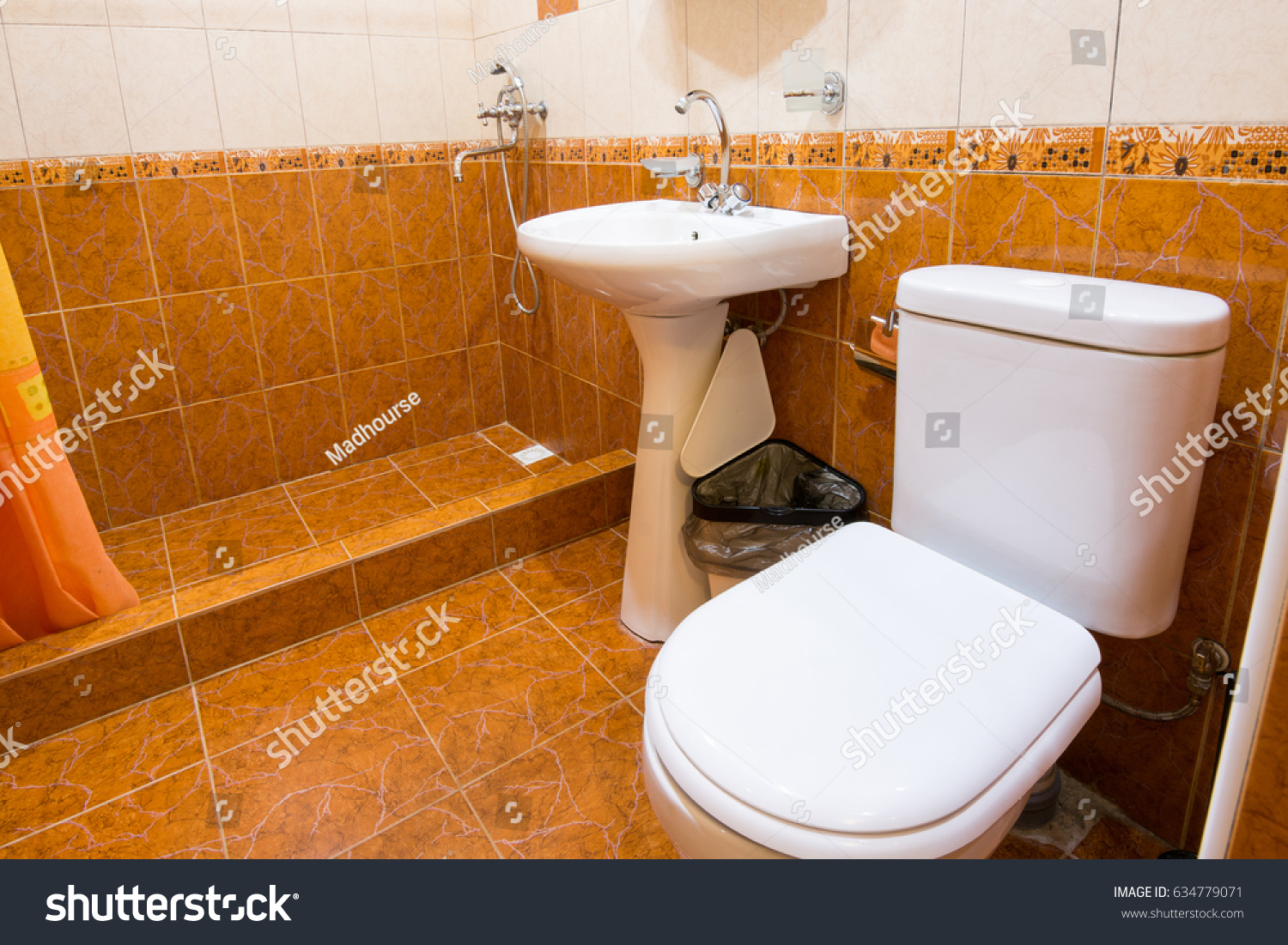 Bathroom Combined Toilet Hotel Shower Sink Stock Photo (100% Legal ...