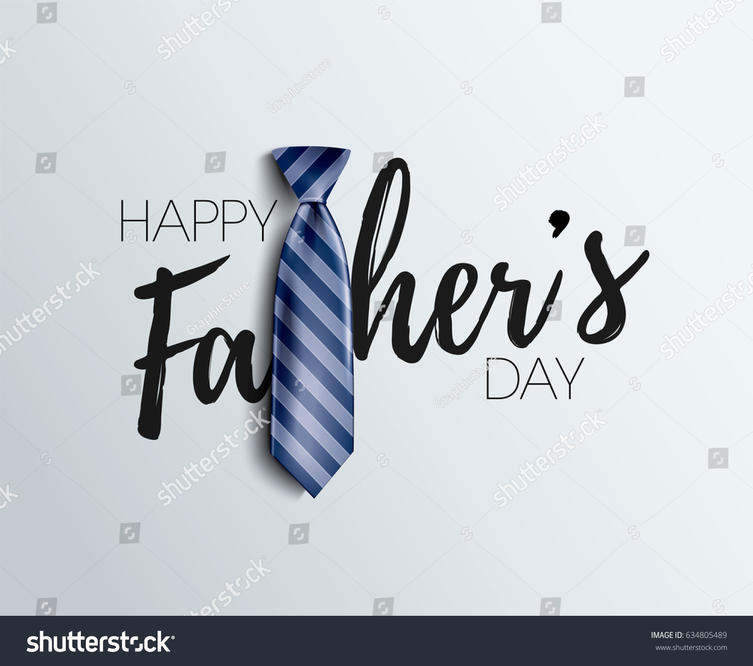 Happy Father's Day Calligraphy greeting card. Vector illustration. #634805489