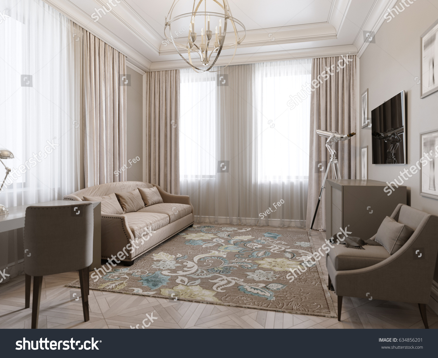Classic traditional modern room home office living room or bedroom guest room interior design 3d rendering illustration