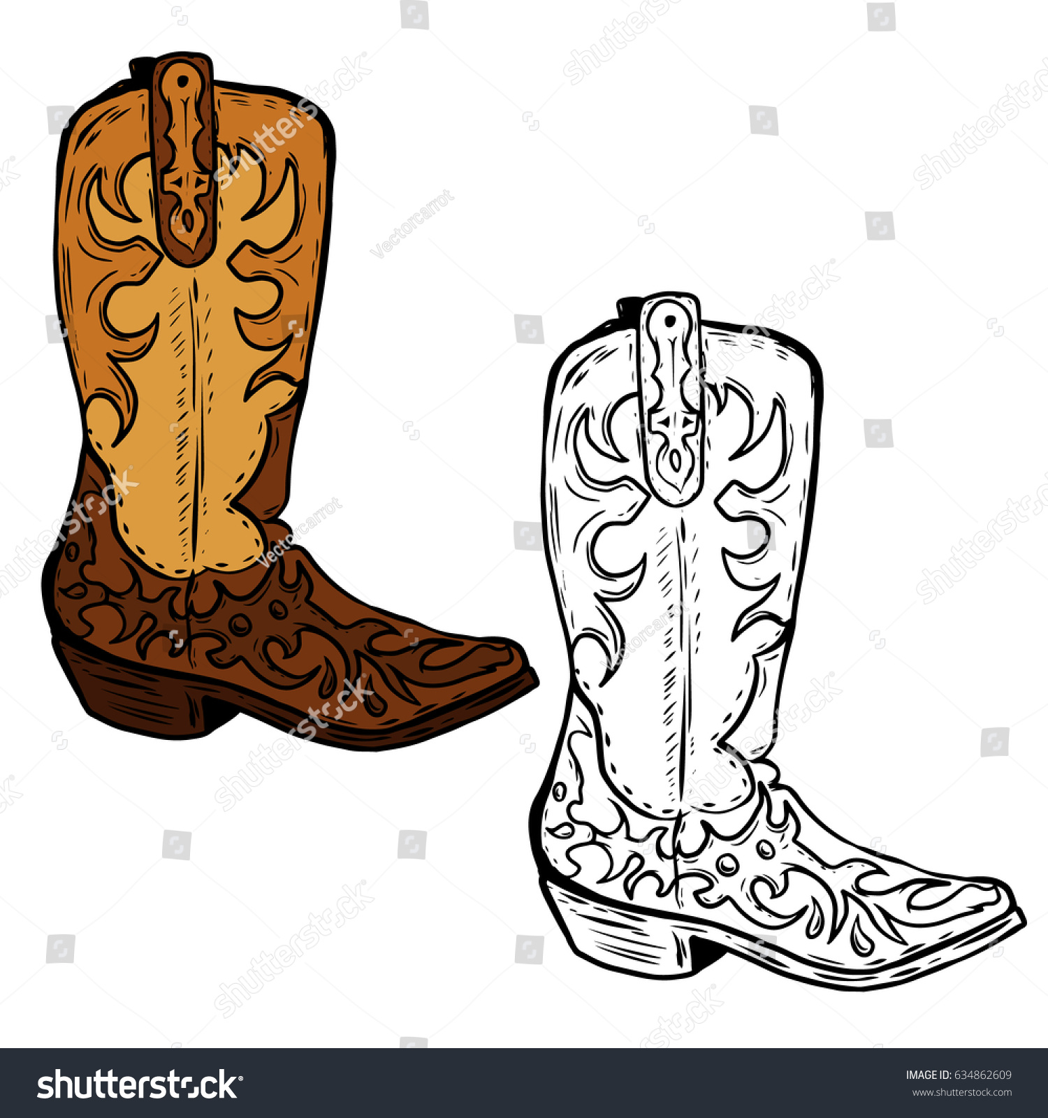 Hand Drawn Cowboy Boots Illustration Design Stock Photo (Photo ...