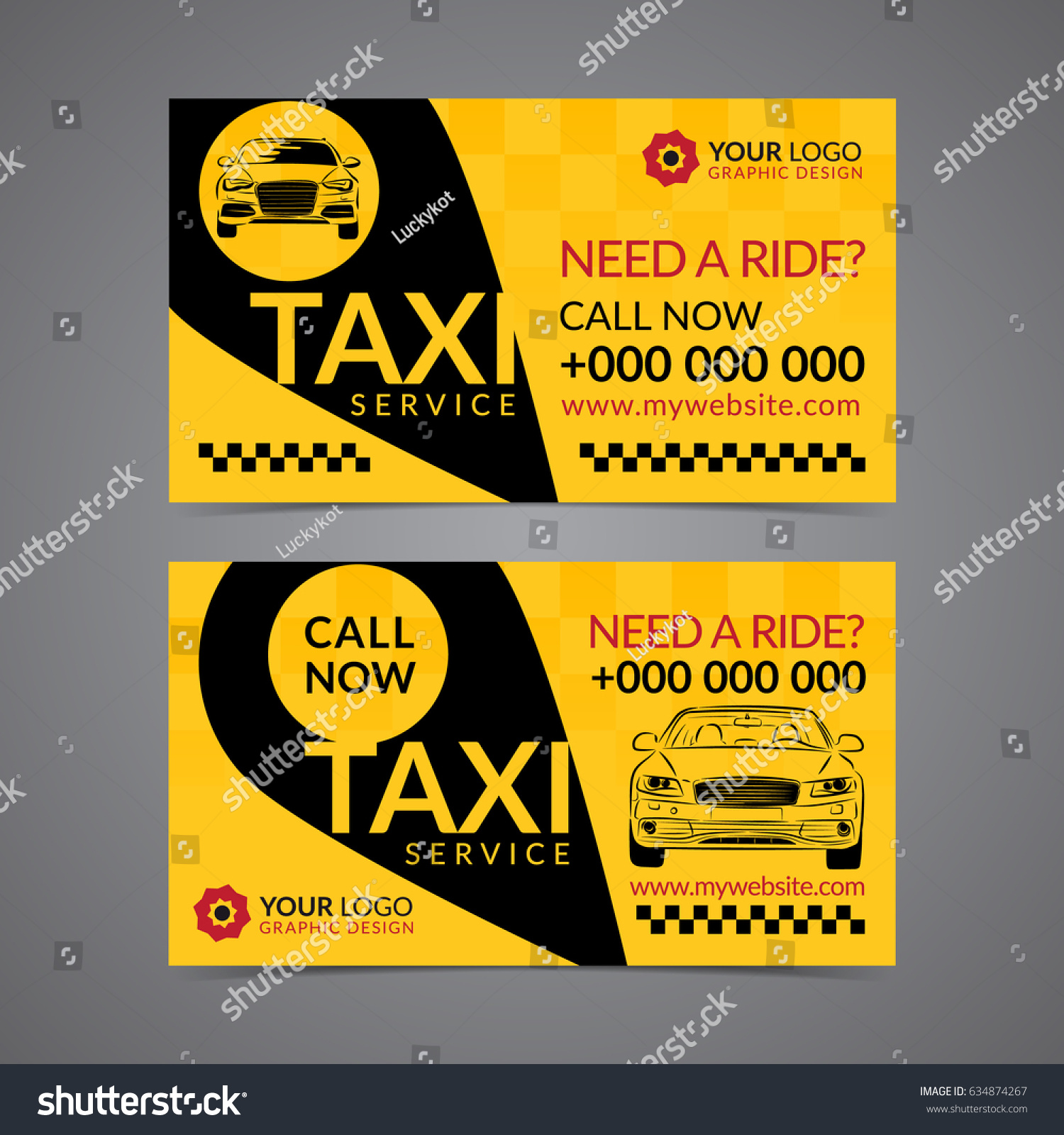 Taxi Pickup Service Business Card Layout Stock Vector Royalty Free