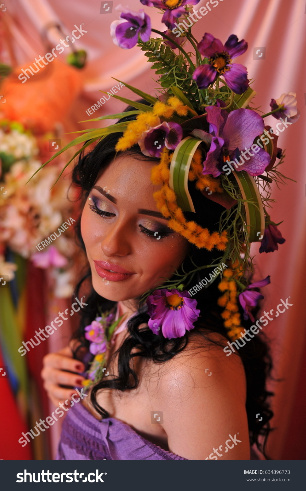 Beautiful Girl With Flower Composition On Head And With Professional