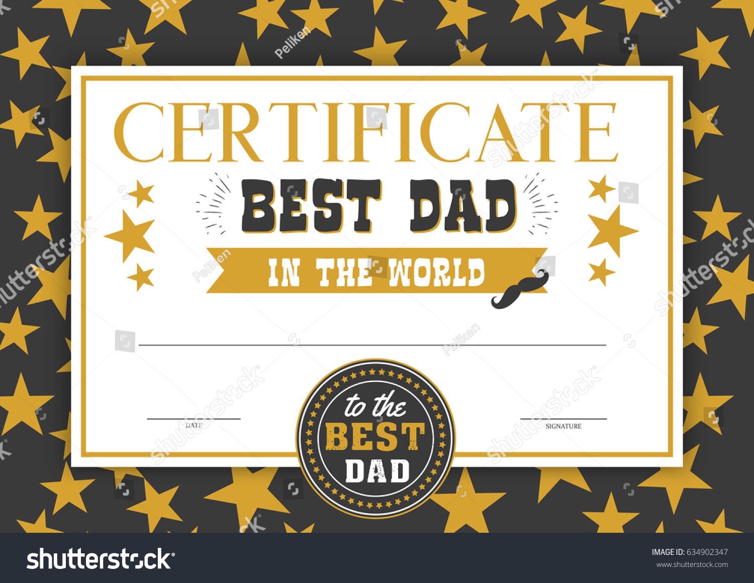 Best Dad World Certificate Special Perfect Stock Vector
