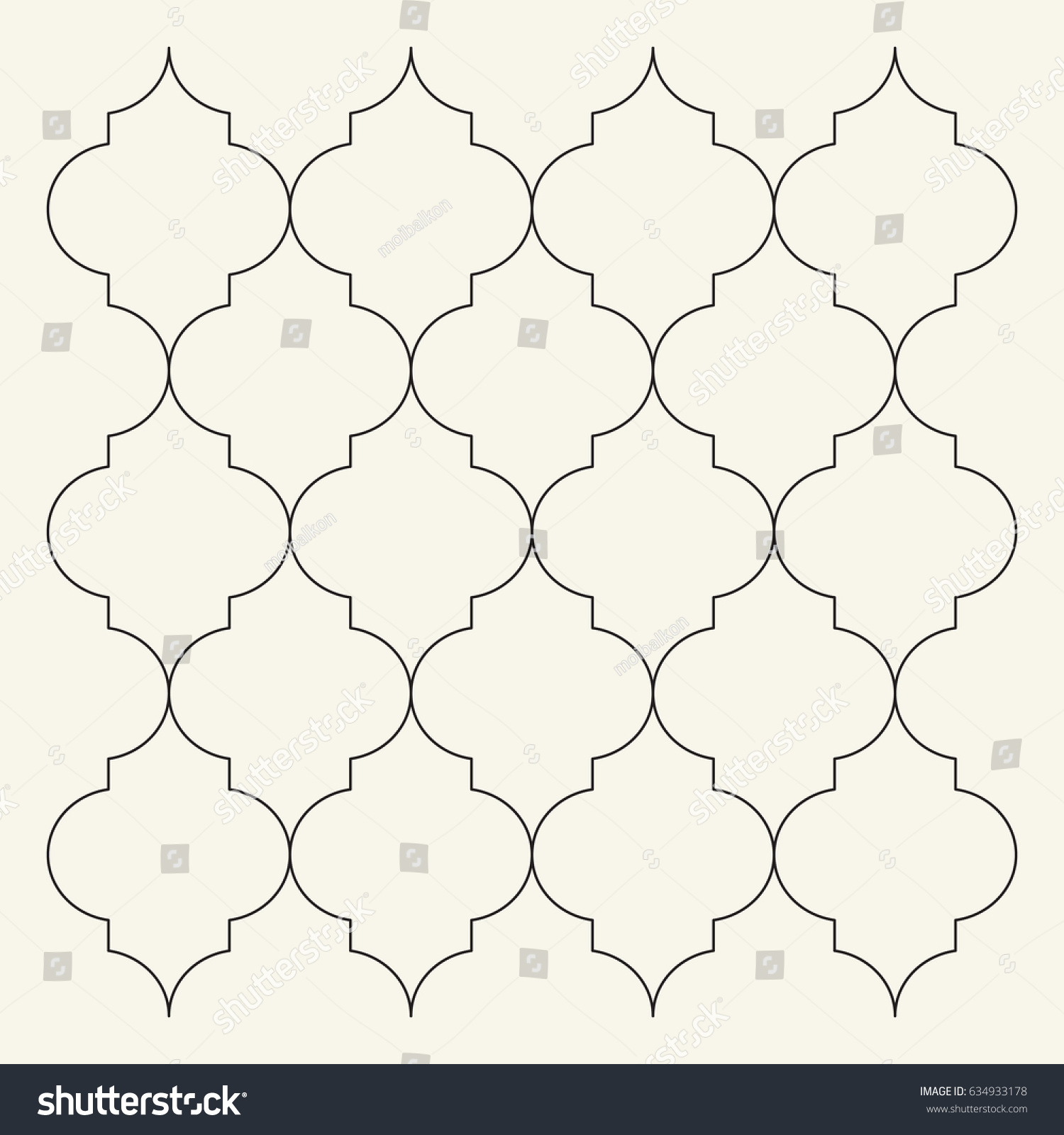 Flat Outline Moroccan Pattern Vector Tile Stock Vector (Royalty Free ...