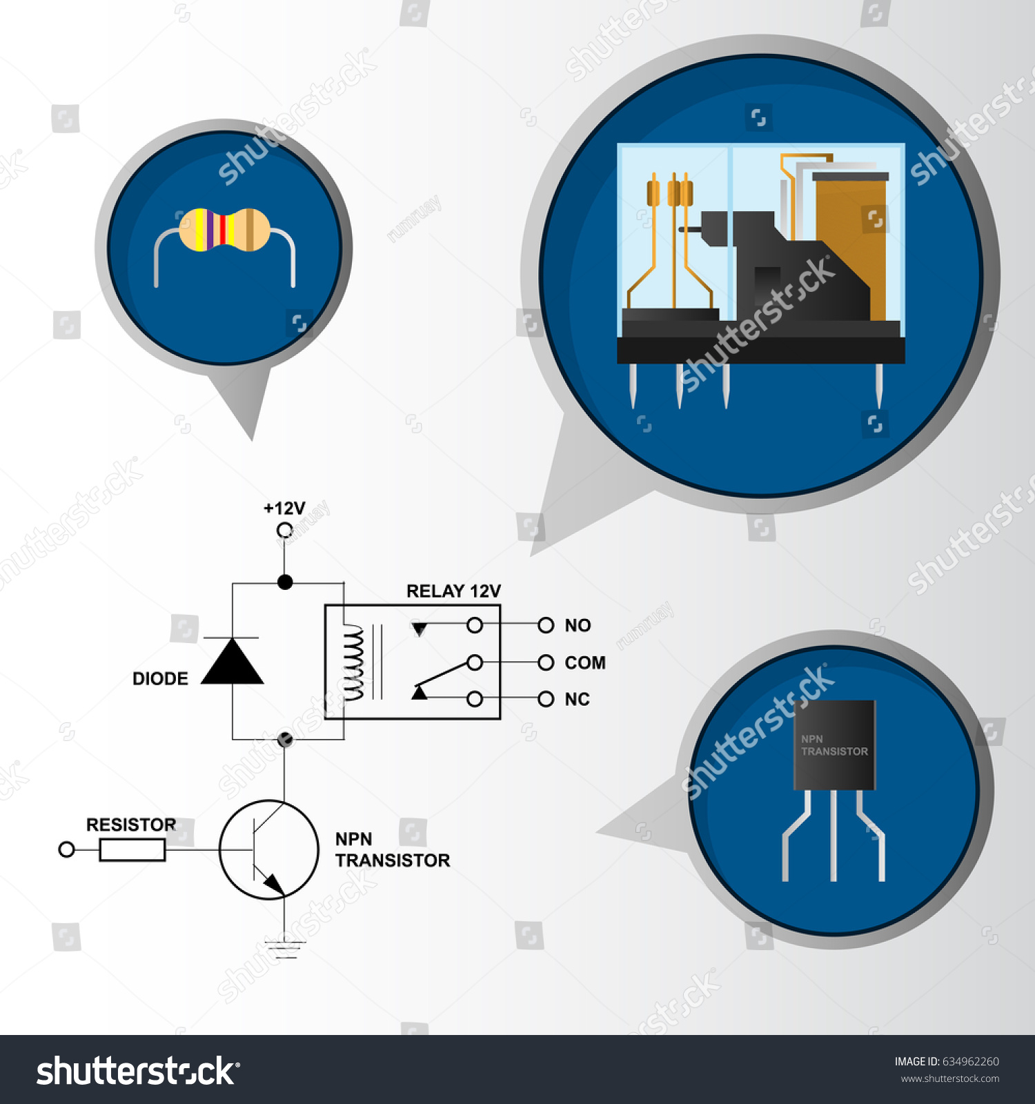 Electronic Relay Control Circuit Schematic Component Stock Vector Transistor With
