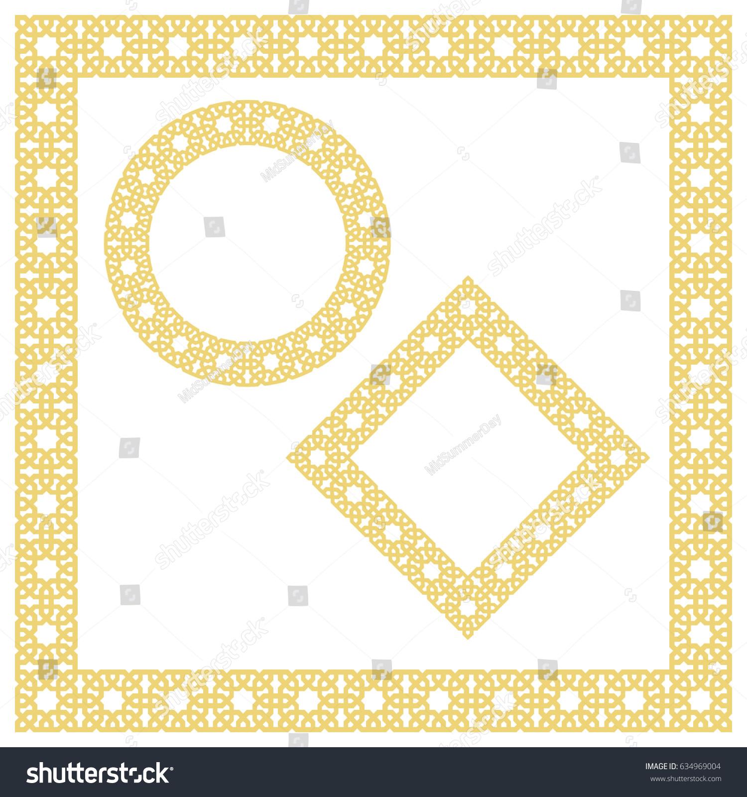 Islamic Geometric Borders Frames Vignettes Vector Stock Vector ...
