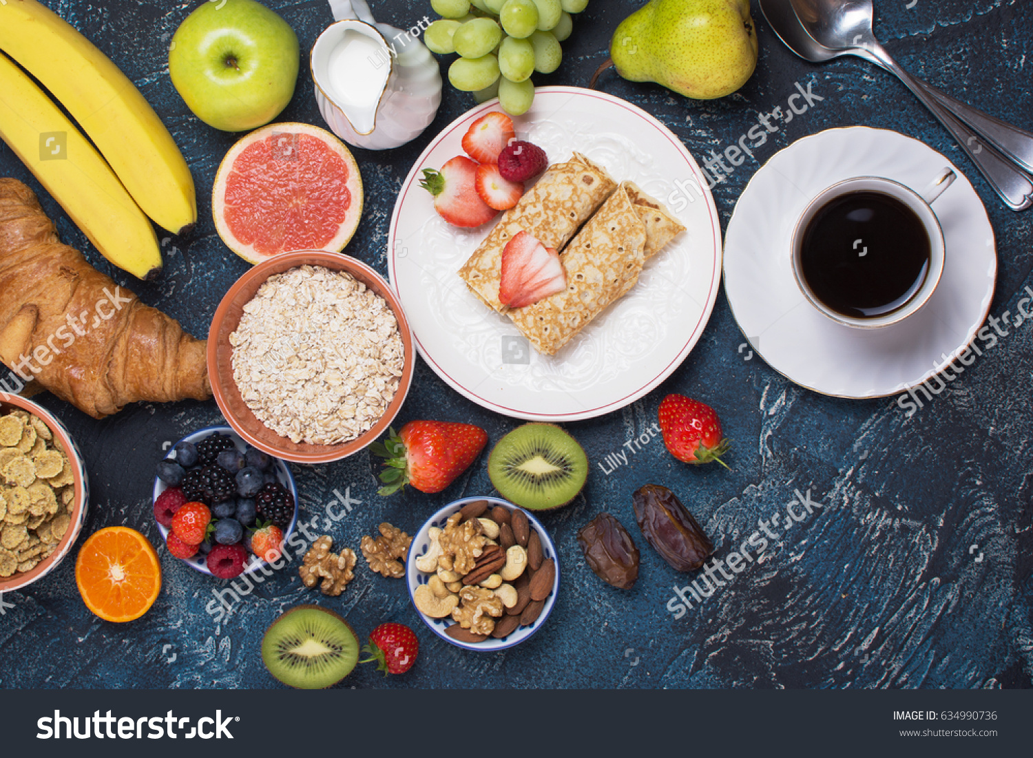 Varied Breakfast Two Pancakes Berries Cereals Stock Photo Edit Now 634990736