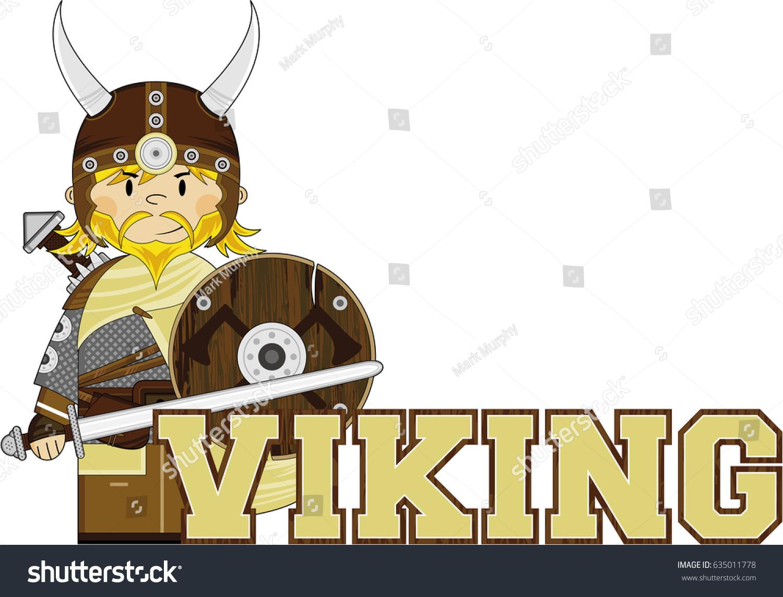 Cute Cartoon Norse Viking Warrior Stock Vector Royalty Free