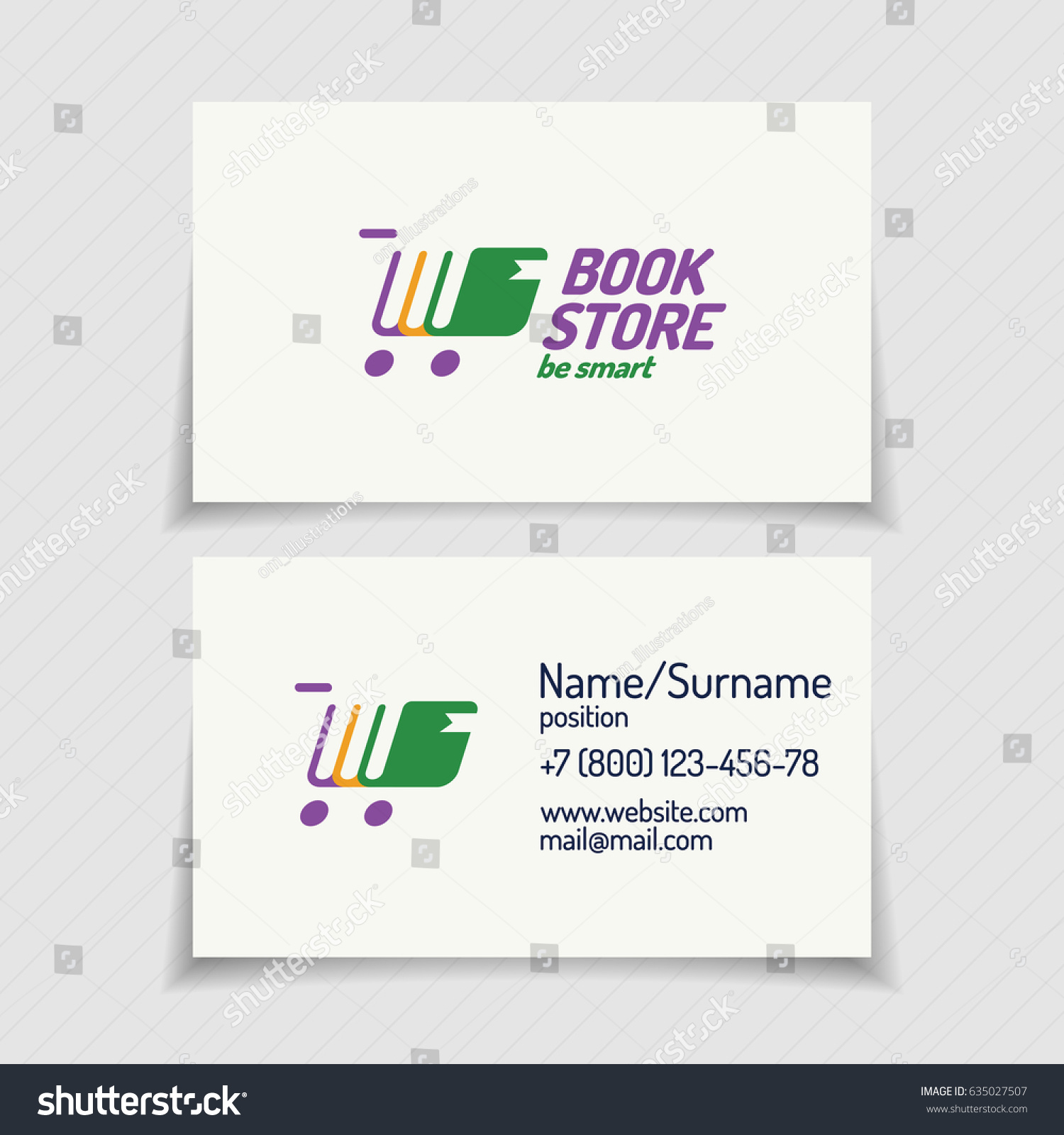 Business Card Book Store Logo Consisting Stock Vector 635027507 ...