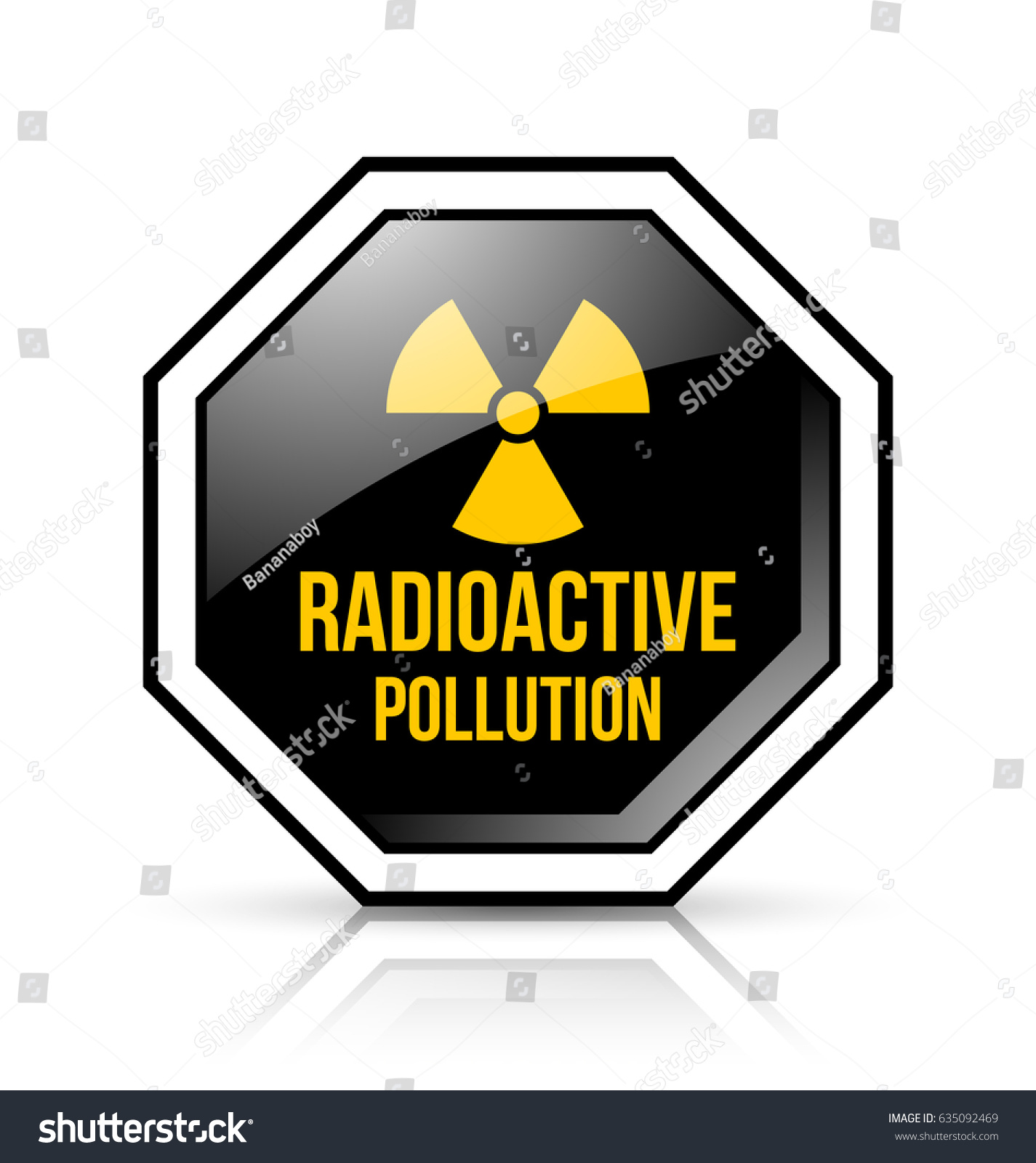 Black yellow radioactive pollution sign nuclear stock vector black and yellow radioactive pollution sign with nuclear symbol on white background biocorpaavc Gallery