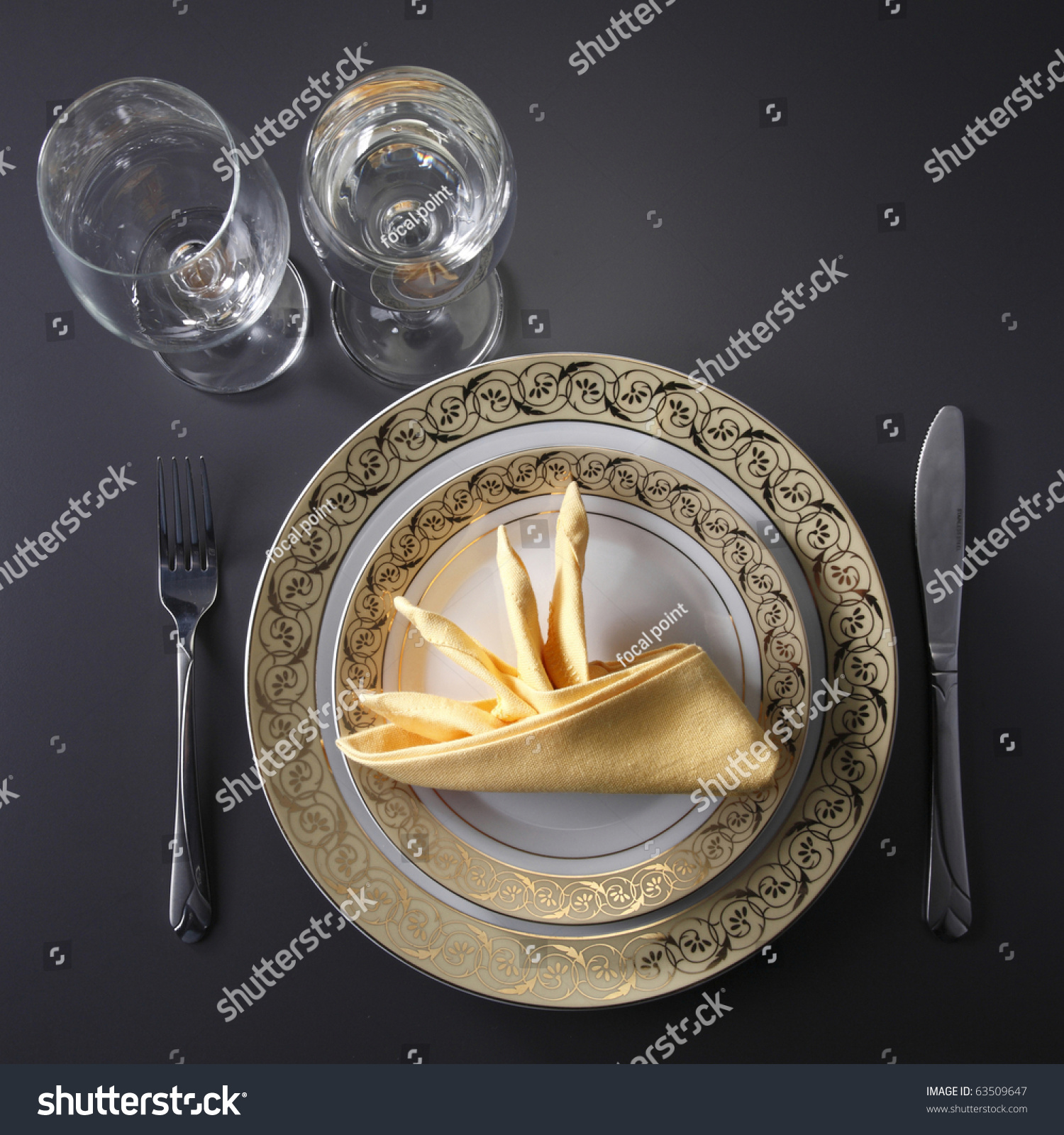 table setting for fine dining or party. cutlery and plate set up for wedding celebration & Table Setting Fine Dining Party Cutlery Stock Photo (Royalty Free ...